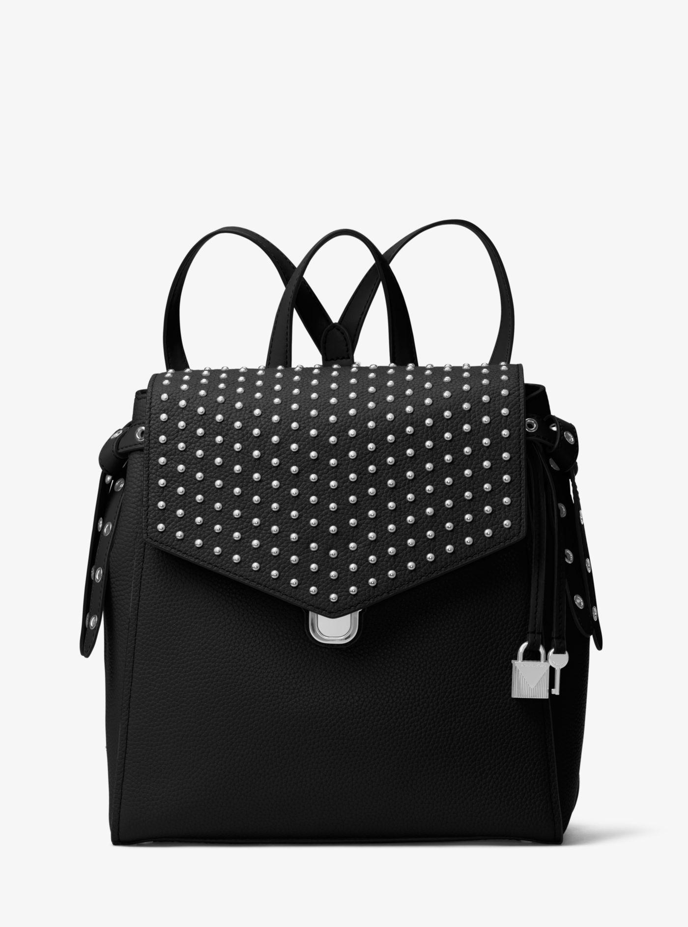 8145d88a623b Michael Kors Bristol Medium Studded Leather Backpack in Black - Lyst