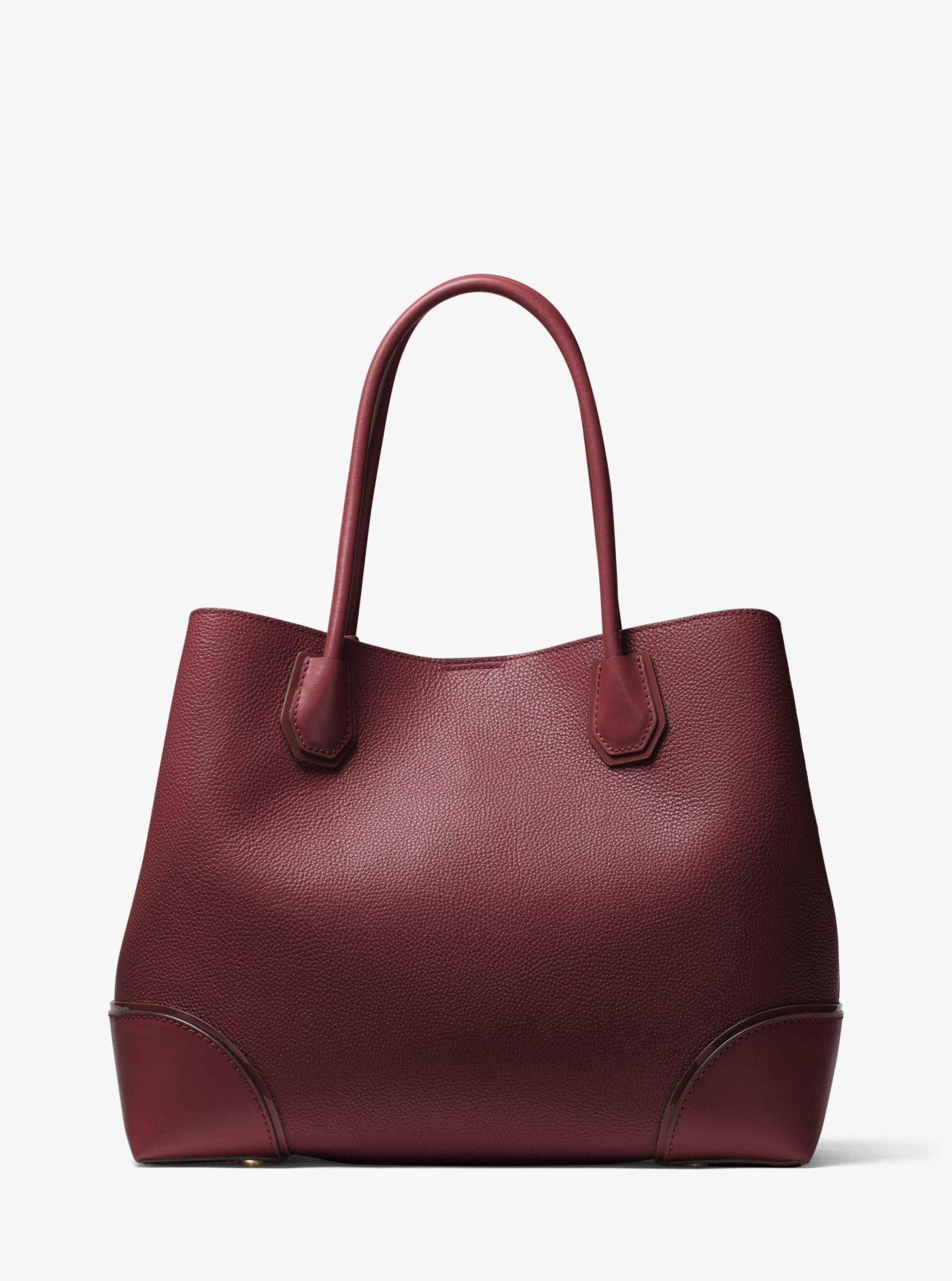 michael kors mercer gallery large leather satchel lyst rh lyst co uk