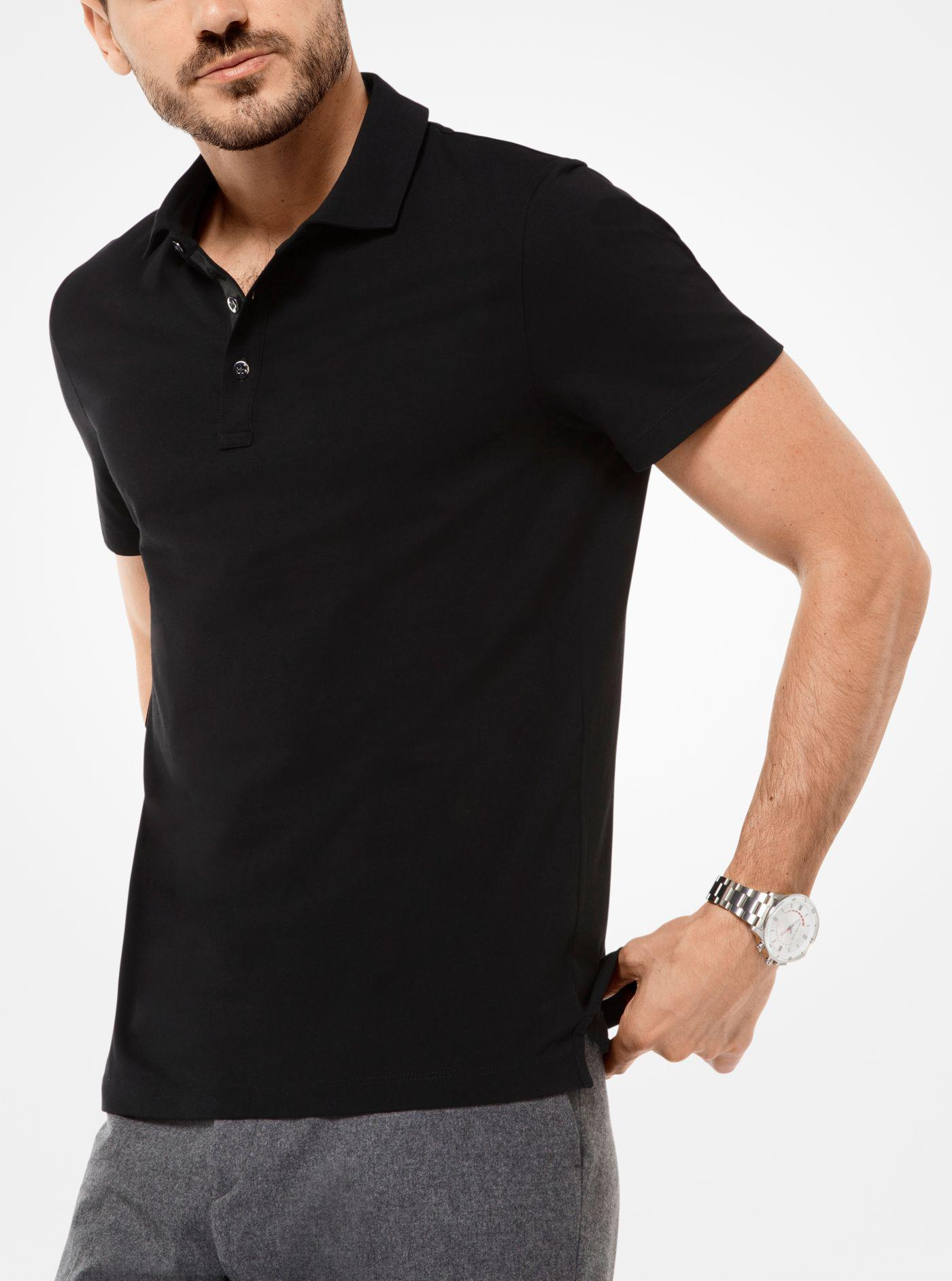 2a1e1f09 Michael Kors Cotton Polo Shirt in Black for Men - Lyst
