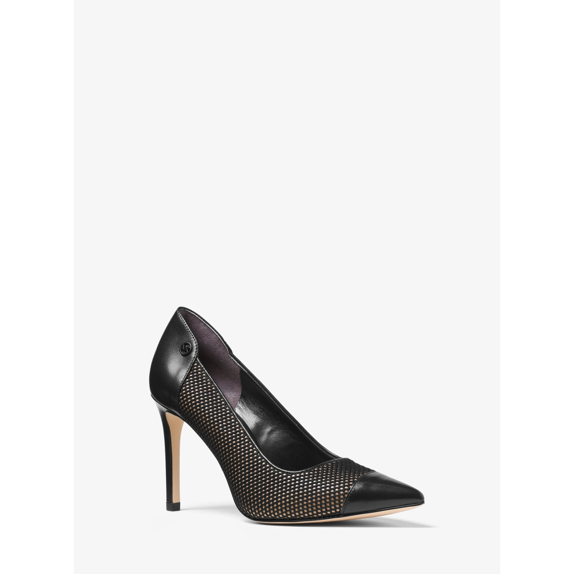 michael kors leilah mesh and leather pump in black lyst. Black Bedroom Furniture Sets. Home Design Ideas