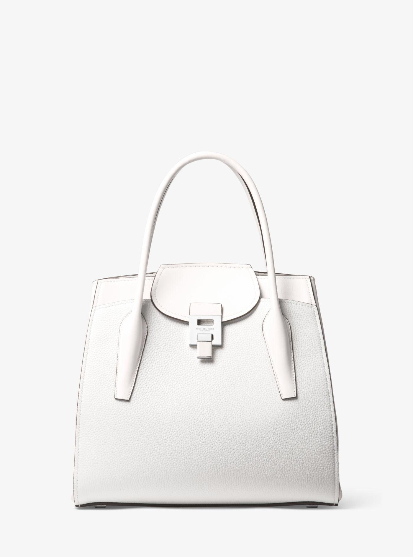 d0c081f7359c Lyst - Michael Kors Bancroft Large Pebbled Calf Leather Satchel in White