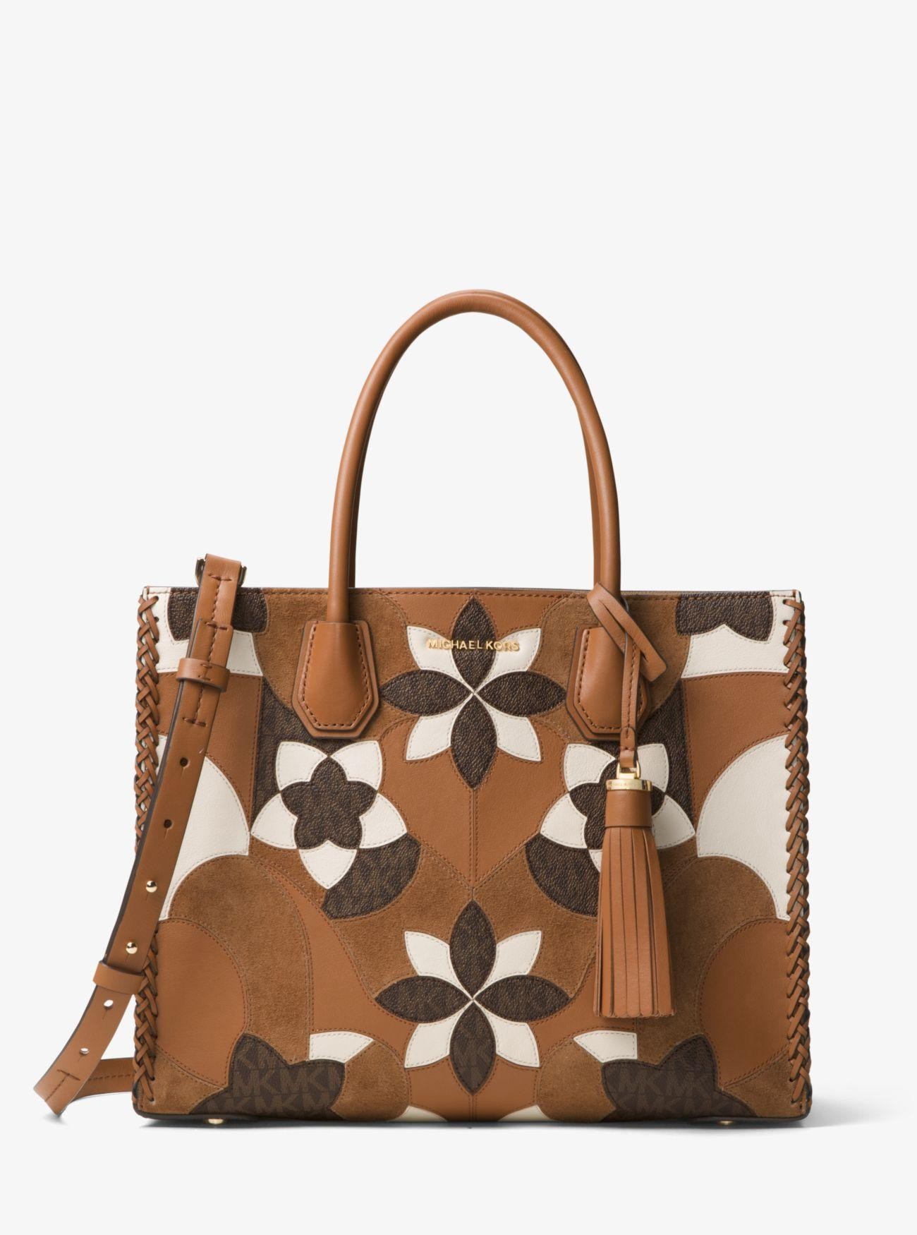 9058311575cc Michael Kors Mercer Large Floral Patchwork Leather Tote - Lyst
