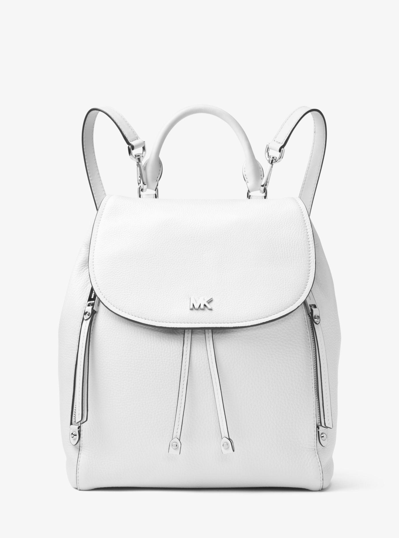 48fc7b0344189 ... new zealand michael kors evie medium leather backpack in white lyst  cf8f8 d7e06