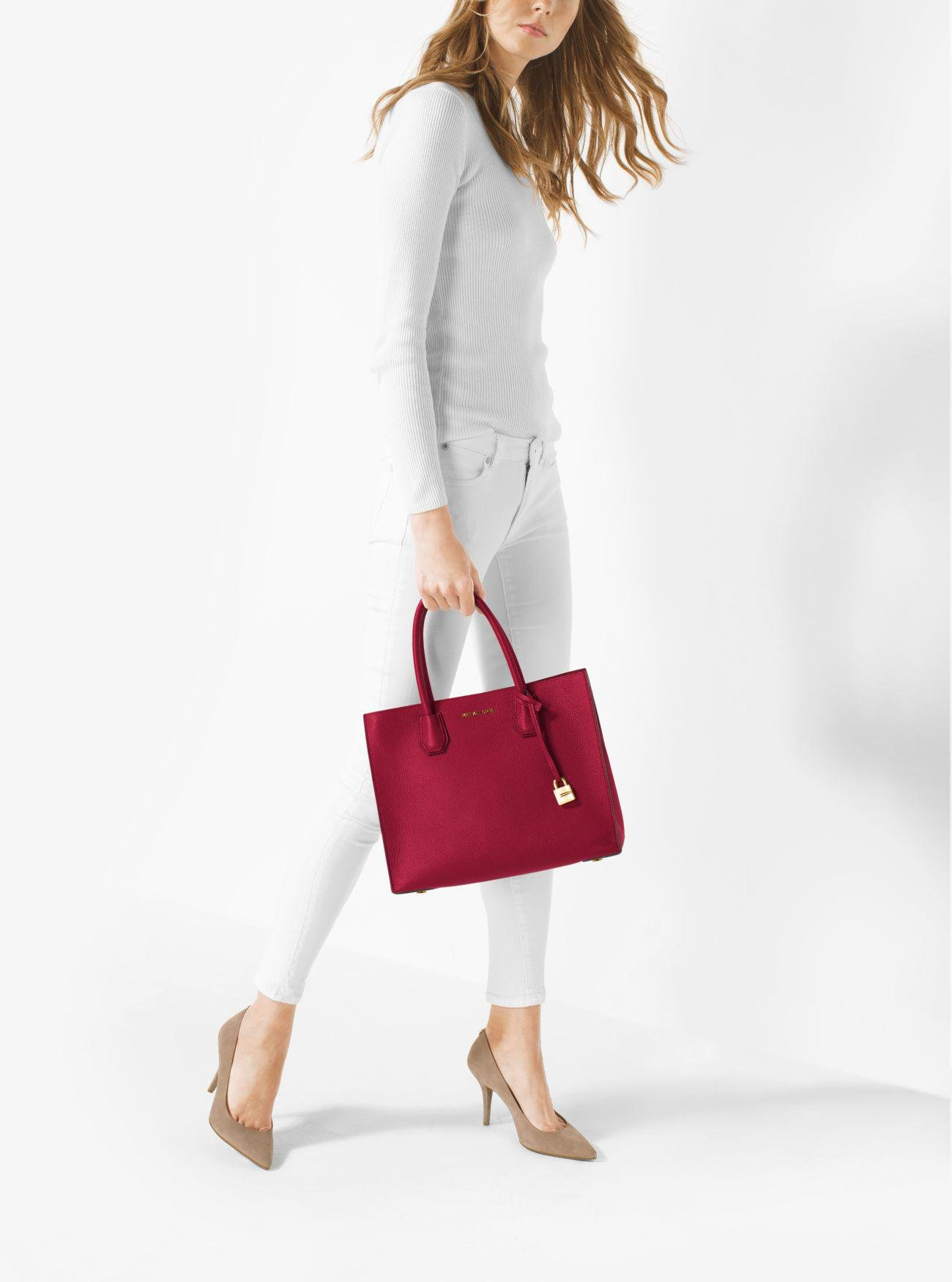 2ce3ed20acee Lyst - Michael Kors Mercer Large Leather Tote in Red