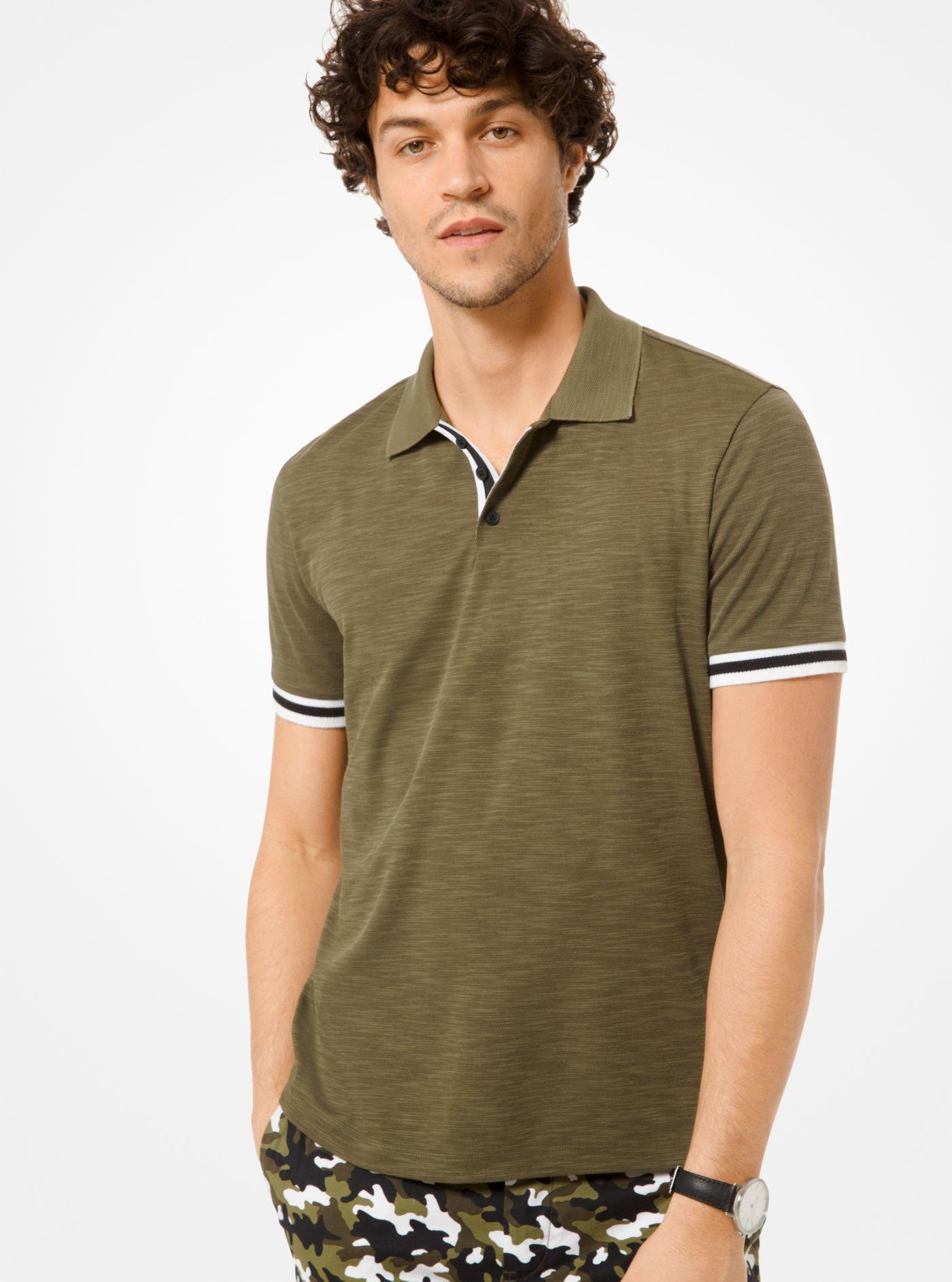 5ff44ec1 Lyst - Michael Kors Cotton Piqué Polo Shirt in Green for Men