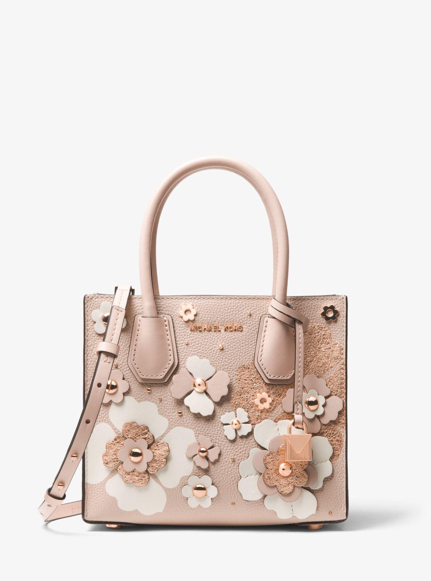 c8e8fc529a90 Lyst - Michael Kors Mercer Floral Embellished Leather Crossbody