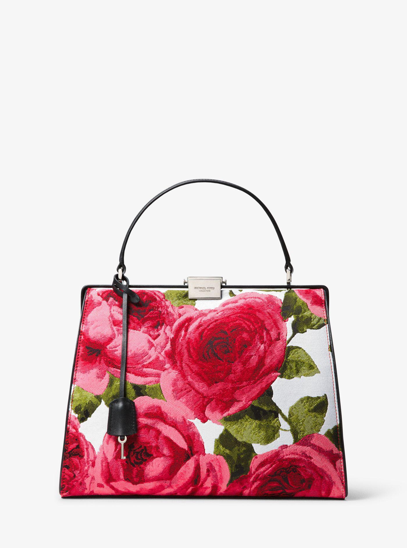 6004e6a8076d6 ... promo code for lyst michael kors simone rose brocade top handle bag  06ccf 8af5a