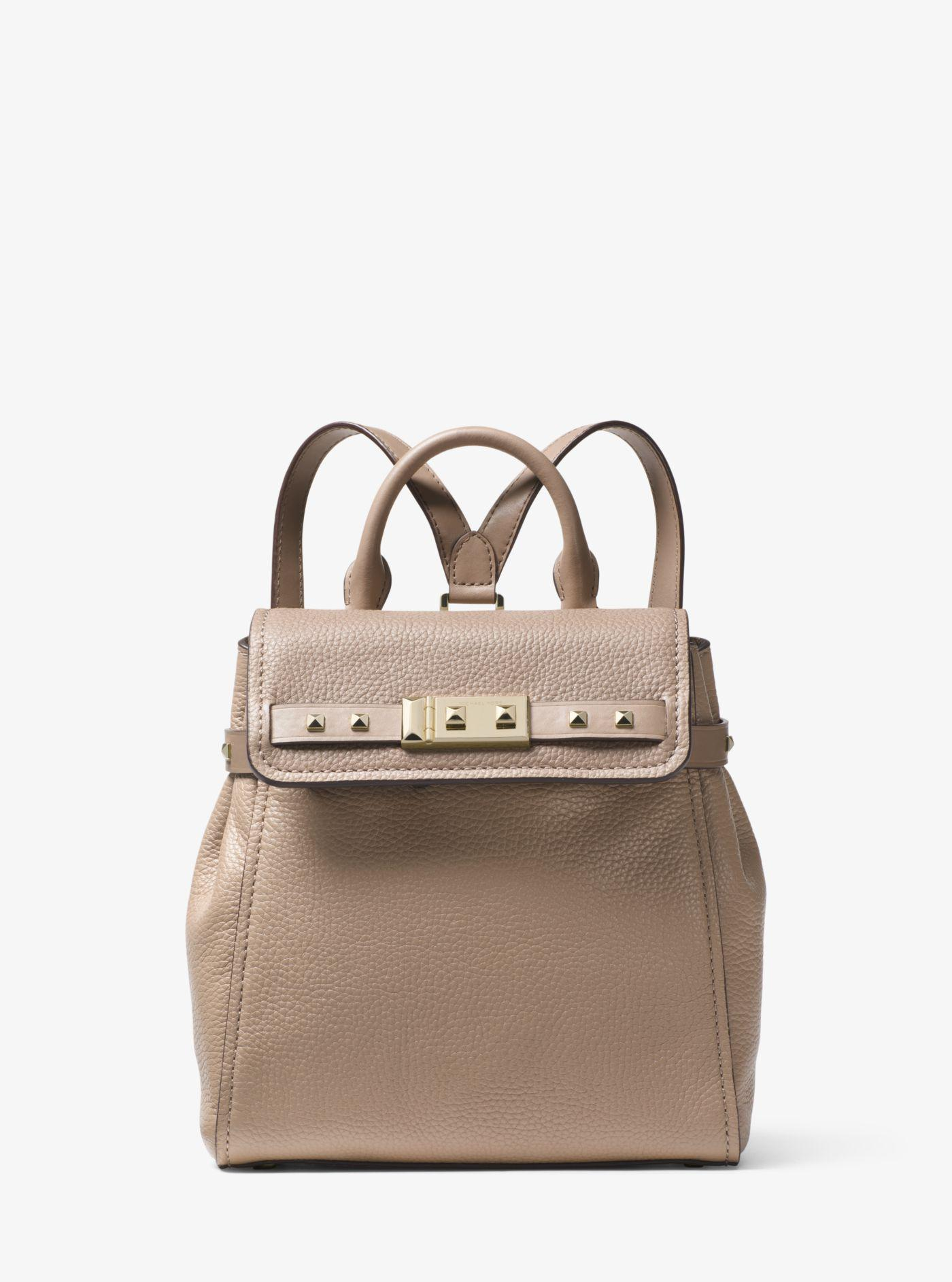 7e7e72a38955 Lyst - Michael Kors Addison Small Pebbled Leather Backpack