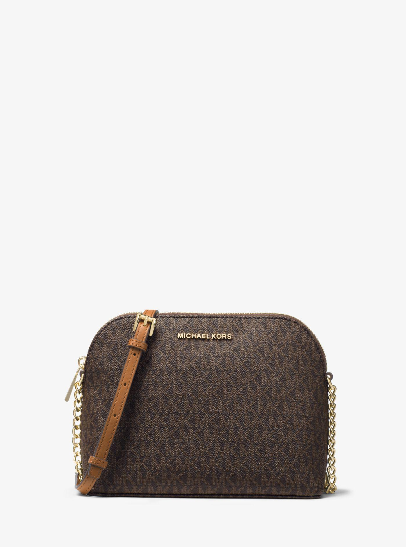 43834a444827b7 Michael Kors Cindy Logo Crossbody in Brown - Lyst