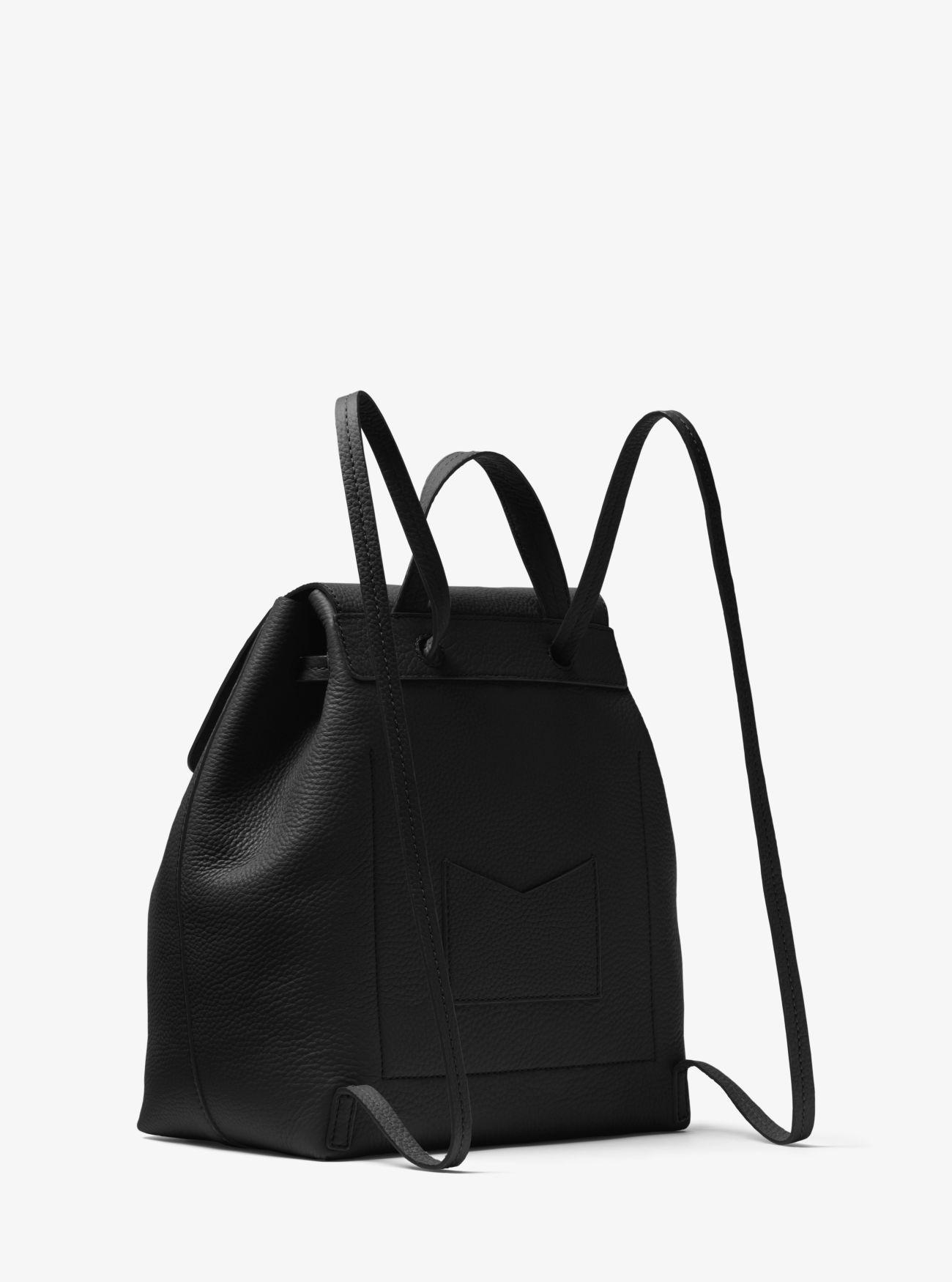 a74be6dcfed5 Michael Kors - Black Junie Medium Pebbled Leather Backpack - Lyst. View  fullscreen