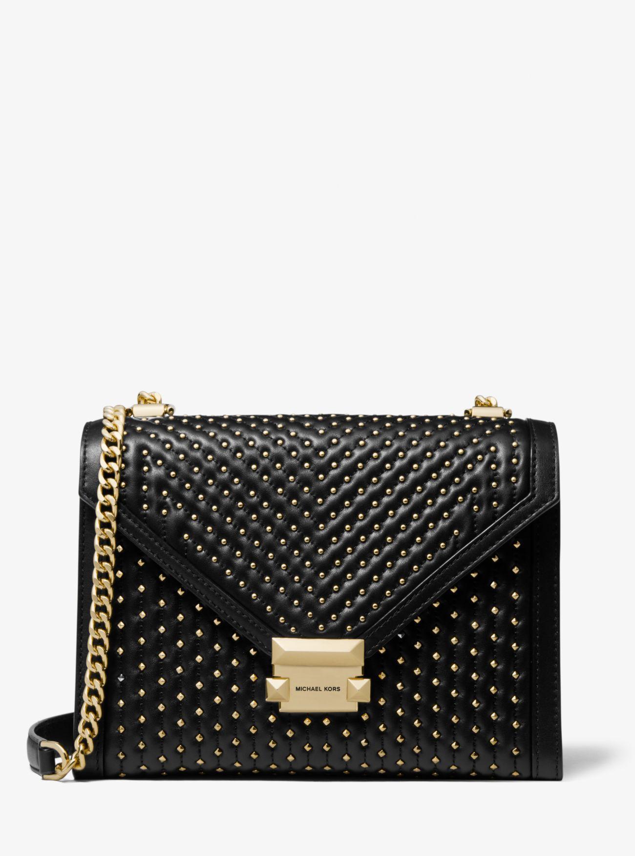 480eb6bb91d13 Michael Kors - Black Whitney Large Studded Leather Convertible Shoulder Bag  - Lyst. View fullscreen