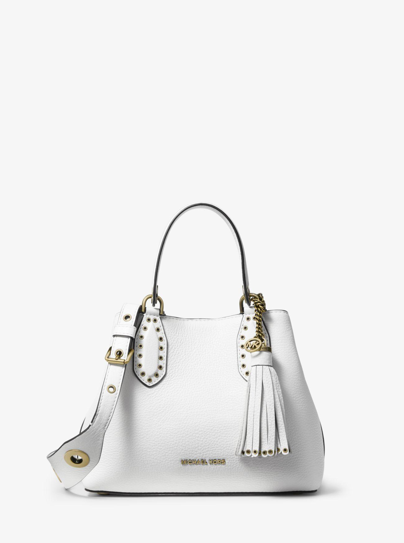 13521e2c8ad5 Michael Kors - White Brooklyn Small Pebbled Leather Satchel - Lyst. View  fullscreen
