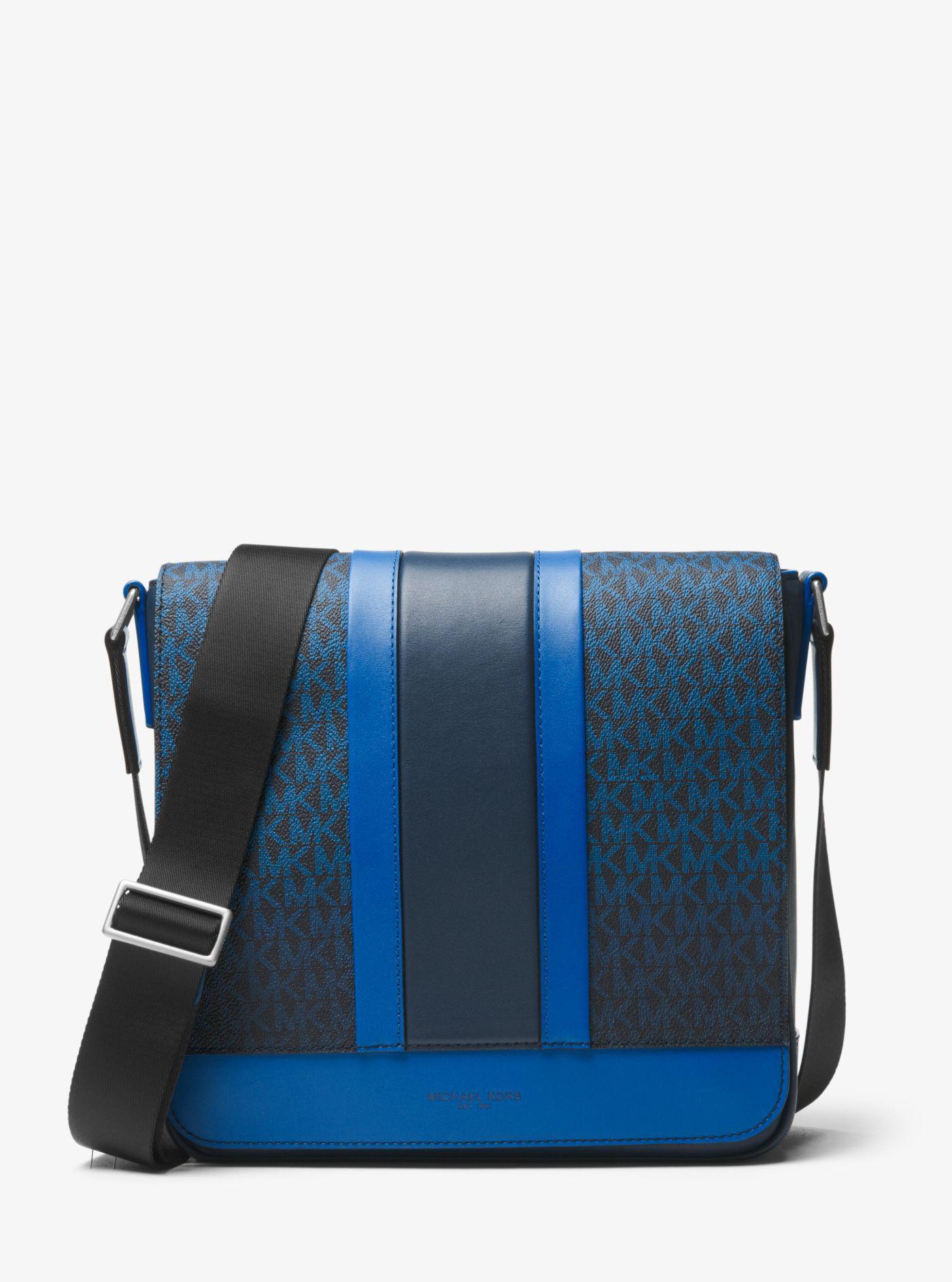 Lyst - Michael Kors Odin Medium Logo Stripe Messenger in Blue for Men 8a399e820065d