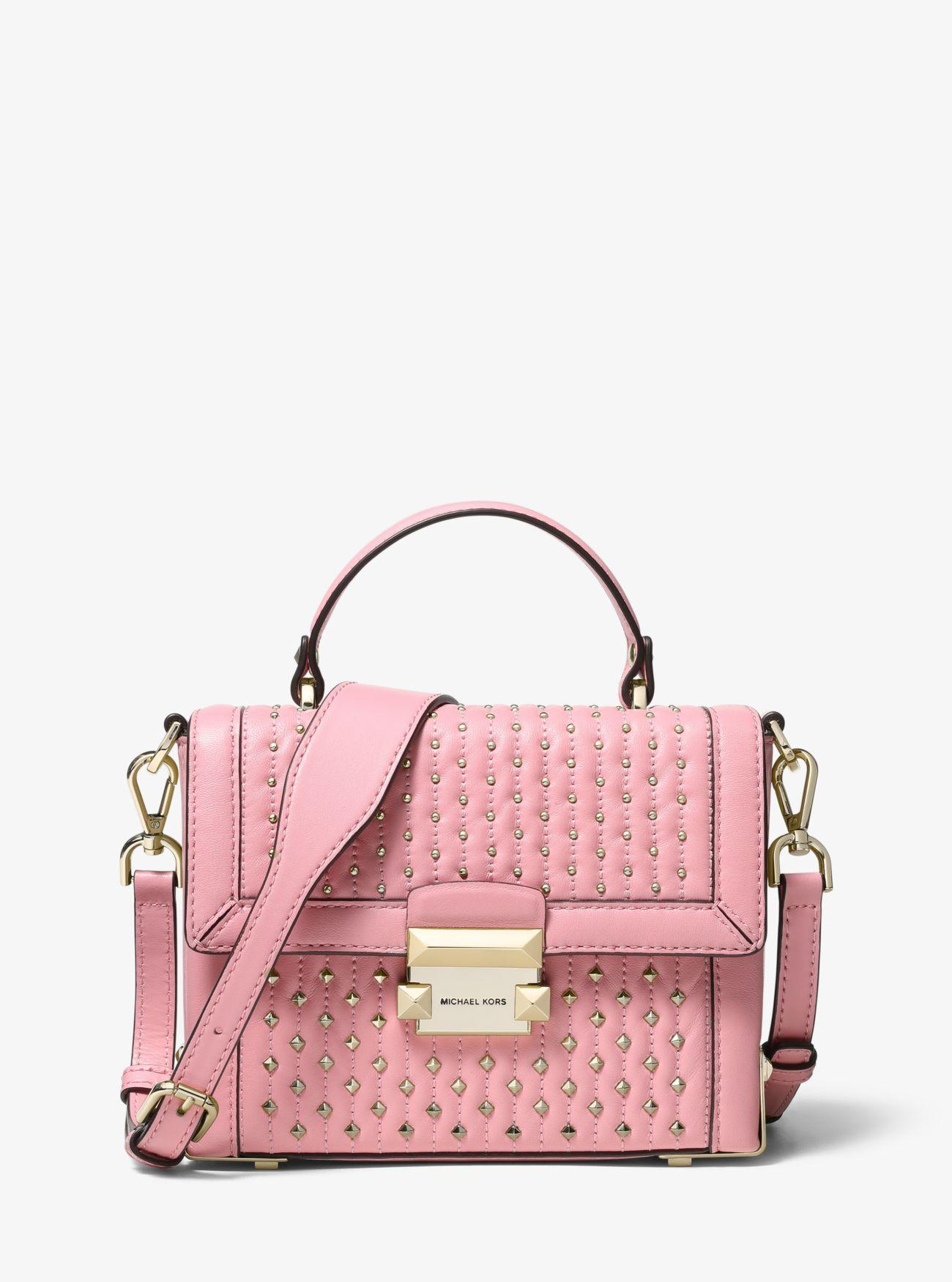 a133c1585b47 Lyst - MICHAEL Michael Kors Jayne Small Studded Leather Trunk Bag in ...