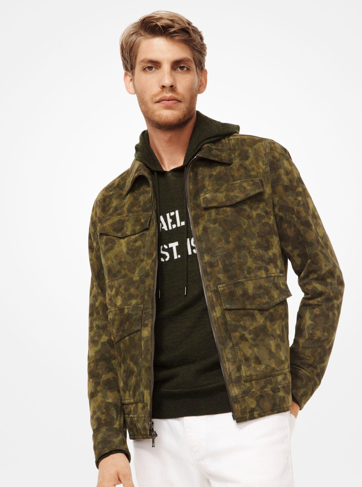 f4793d4ed3c2 Michael Kors Camouflage Suede Utility Jacket in Green for Men - Lyst