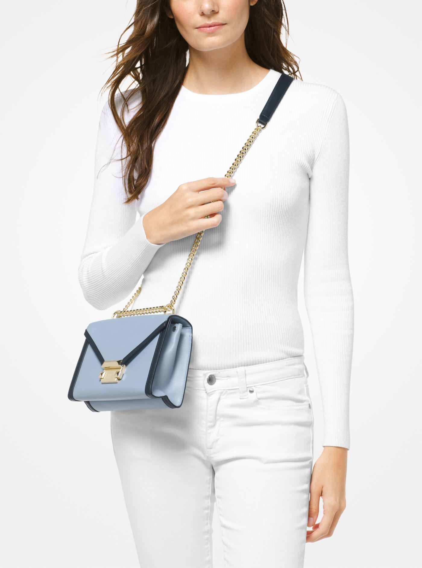 bdb95115ccf0 Michael Kors Whitney Small Leather Shoulder Bag in Blue - Lyst