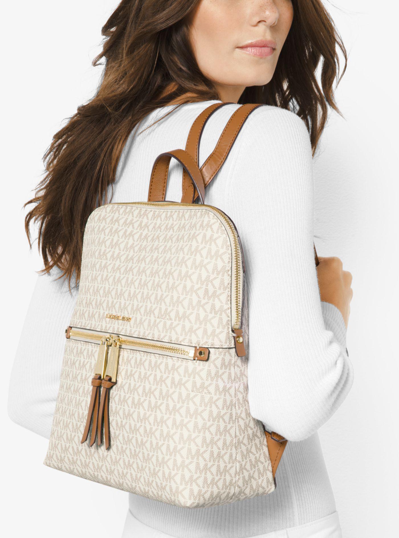 4f9937b470 Lyst - Michael Kors Rhea Medium Slim Logo Backpack