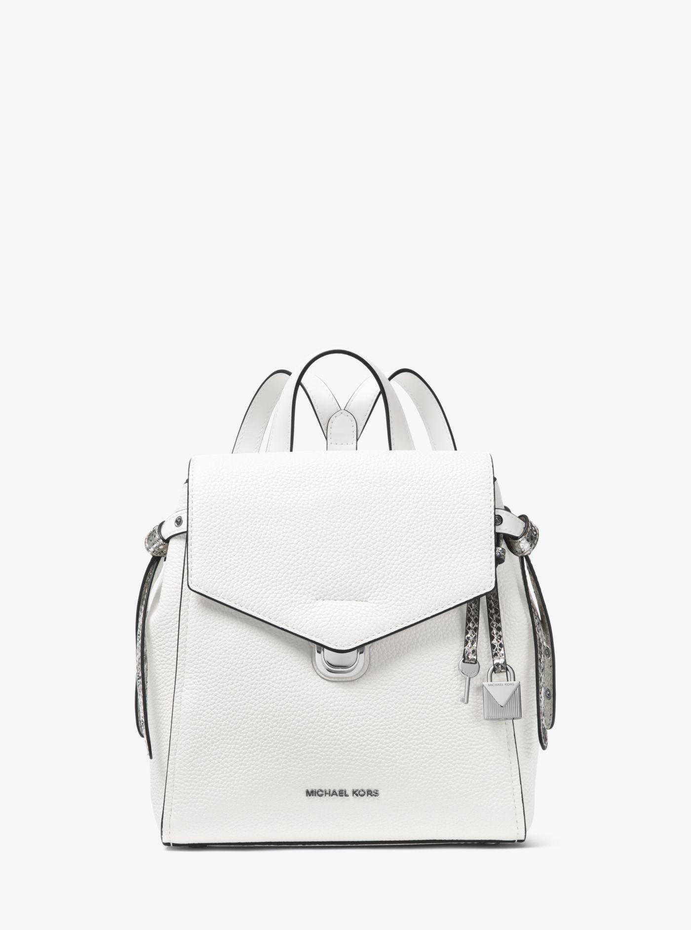 d2377a584b28c Lyst - Michael Kors Bristol Small Leather Backpack in White