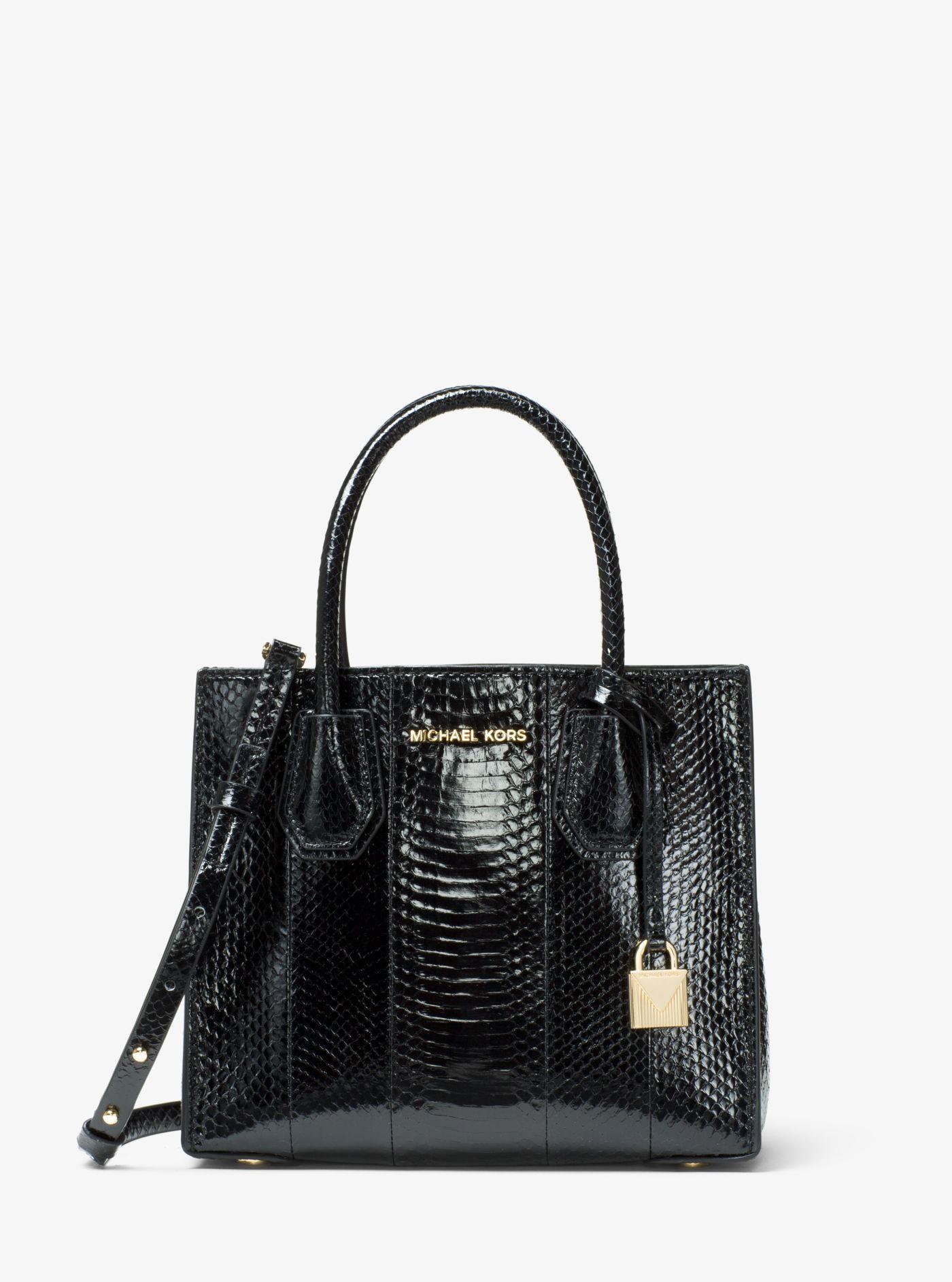 10220e1a85cd Michael Kors Mercer Medium Snakeskin Crossbody Bag in Black - Lyst