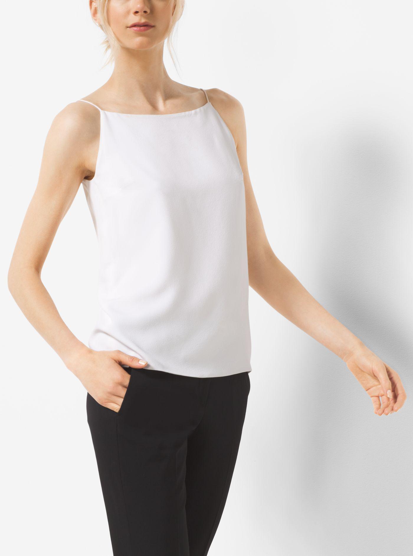 576b6b2d11960 Lyst - Michael Kors Silk Marocain Camisole in White