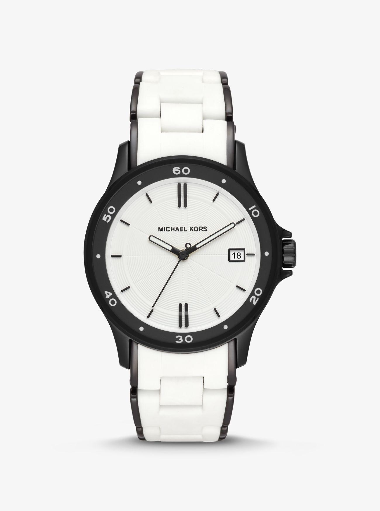 5f50882a319d Michael Kors - White Reid Black-tone And Silicone Watch - Lyst. View  fullscreen