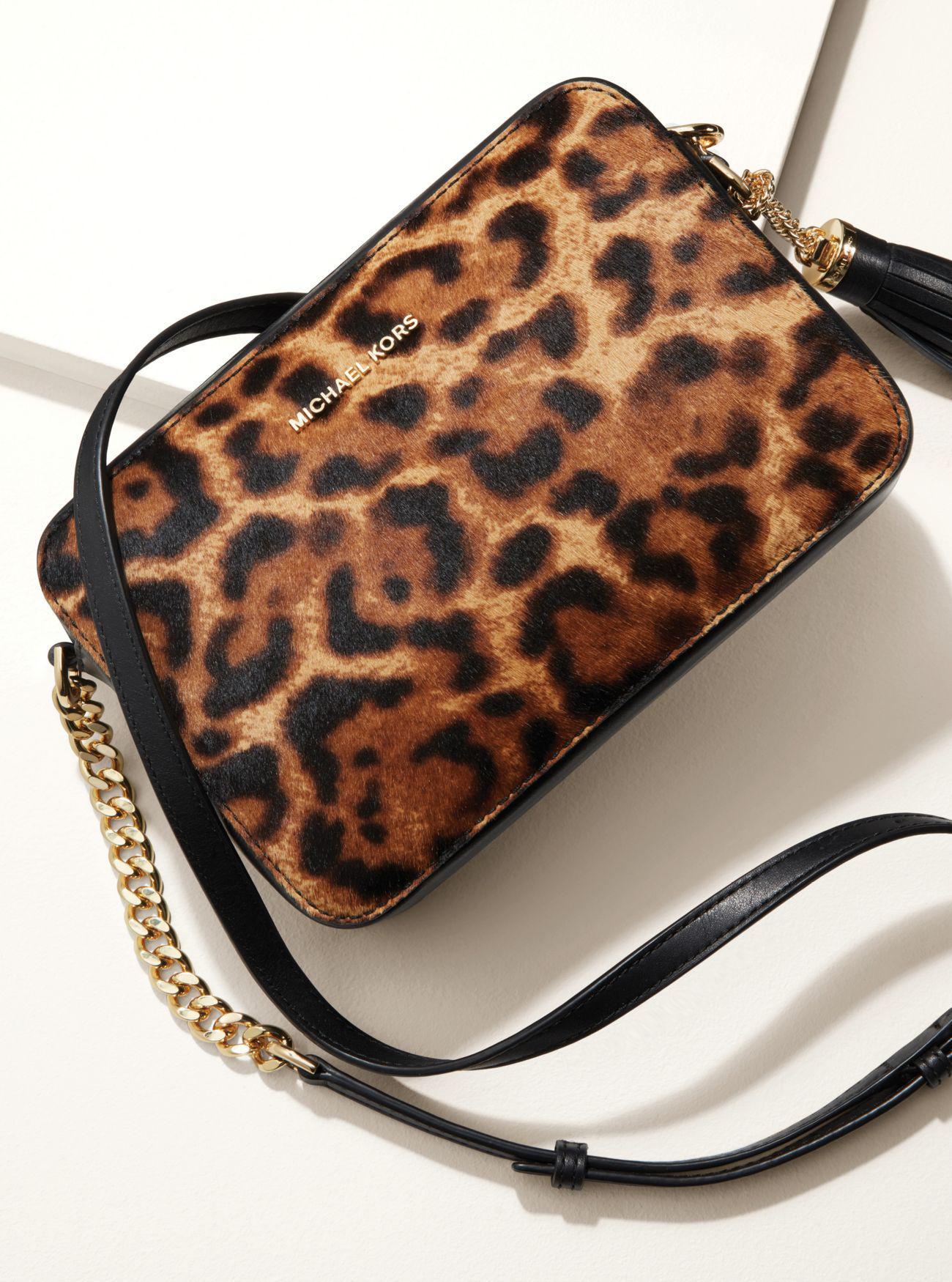 ff27ce3adecb Michael Kors Ginny Medium Leopard Calf Hair Crossbody - Lyst