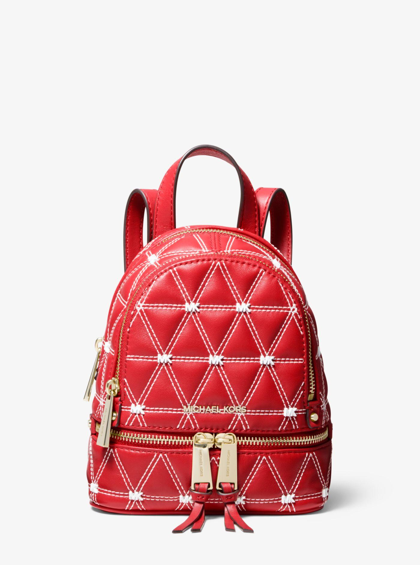 179ca1f26f44 Lyst - MICHAEL Michael Kors Rhea Mini Quilted Leather Backpack in Red