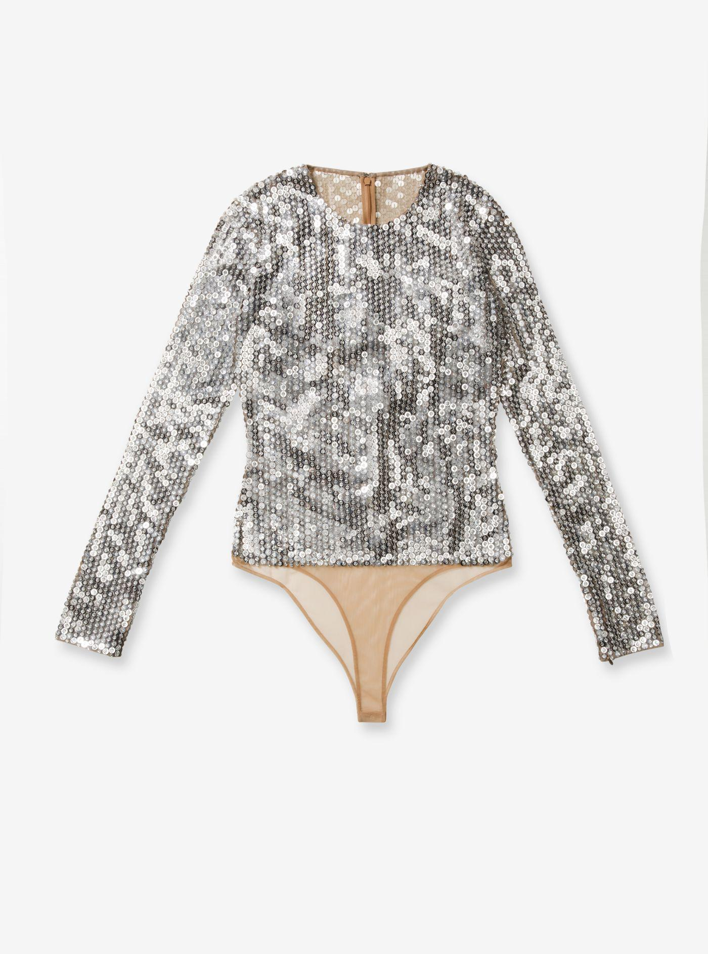 0826065821 ... Sequin-embroidered Stretch-tulle Bodysuit - Lyst. View fullscreen