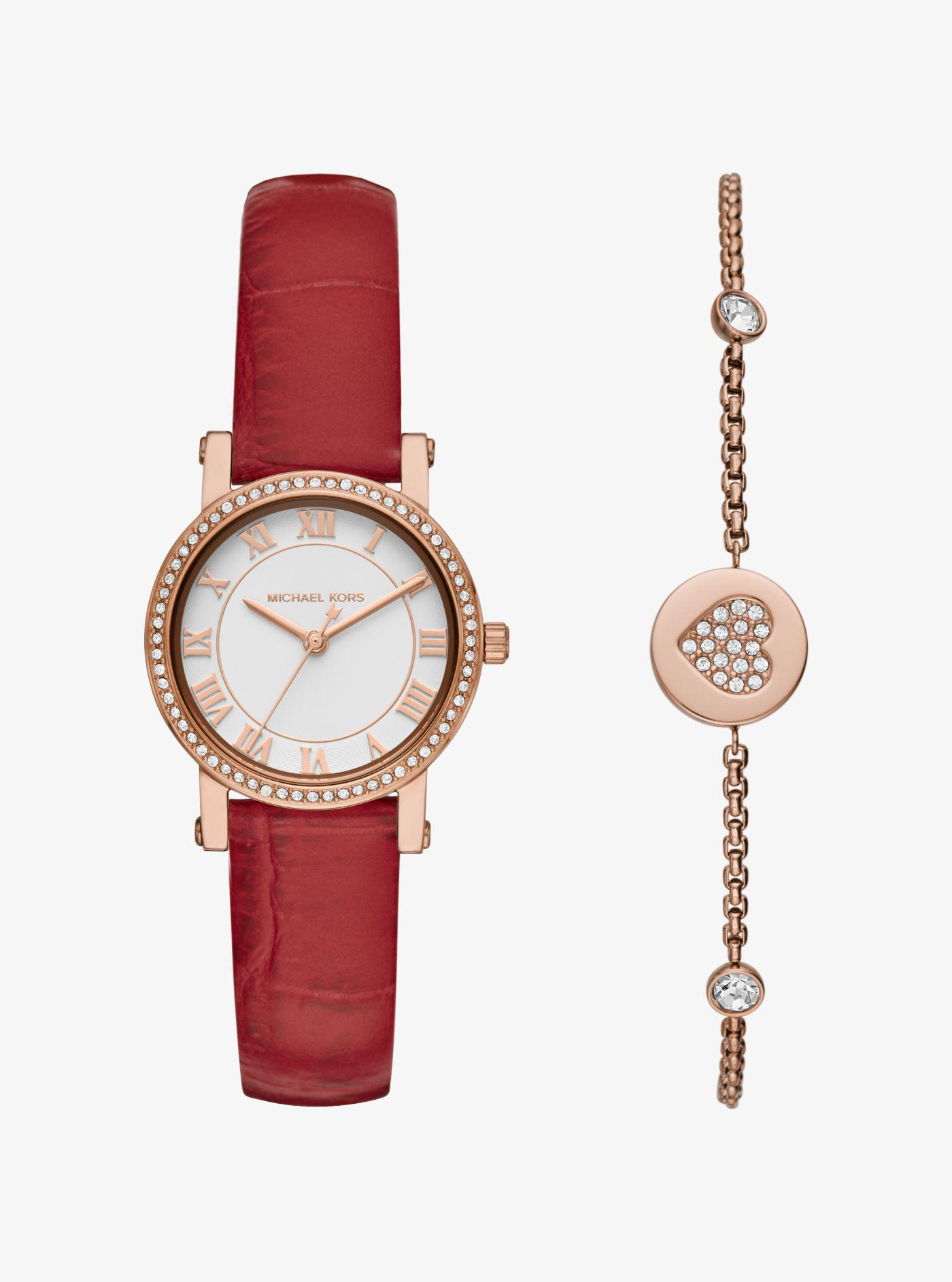 57c878276f8b Lyst - Michael Kors Petite Norie Rose Gold-tone Watch And Bracelet ...
