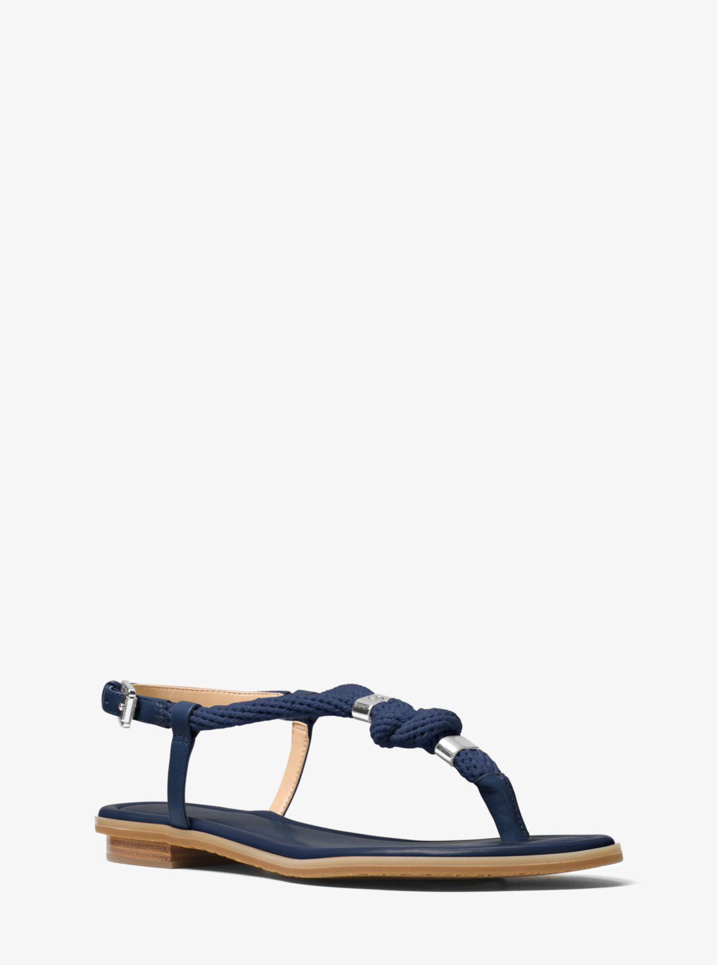 eb37c013adc6 Lyst - Michael Kors Holly Rope-trim Leather Sandal in Blue