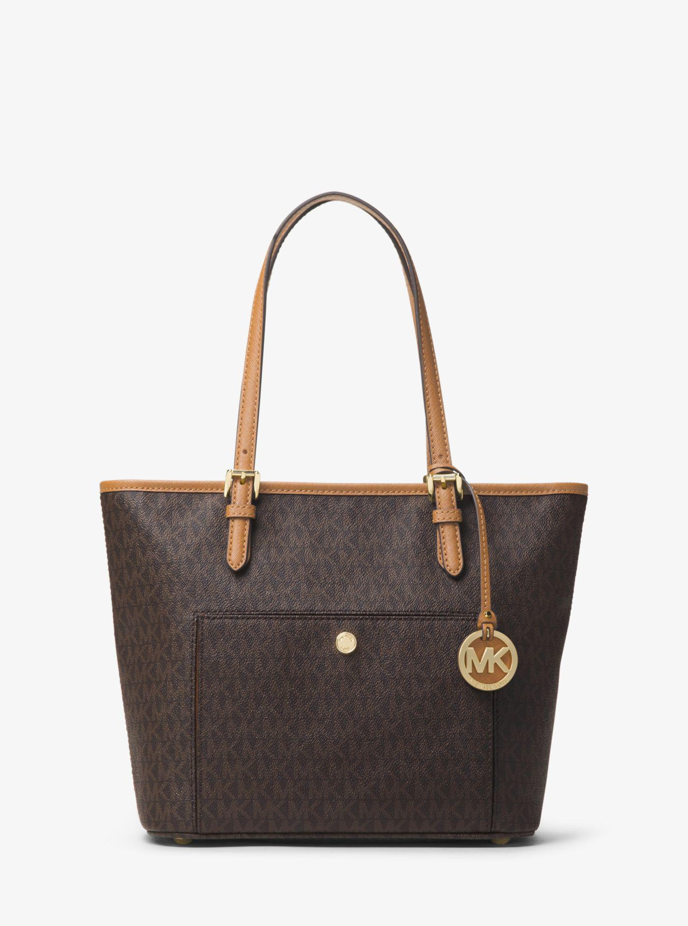 e1e40f8c82d9 Lyst - Michael Kors Jet Set Travel Medium Logo Tote in Brown