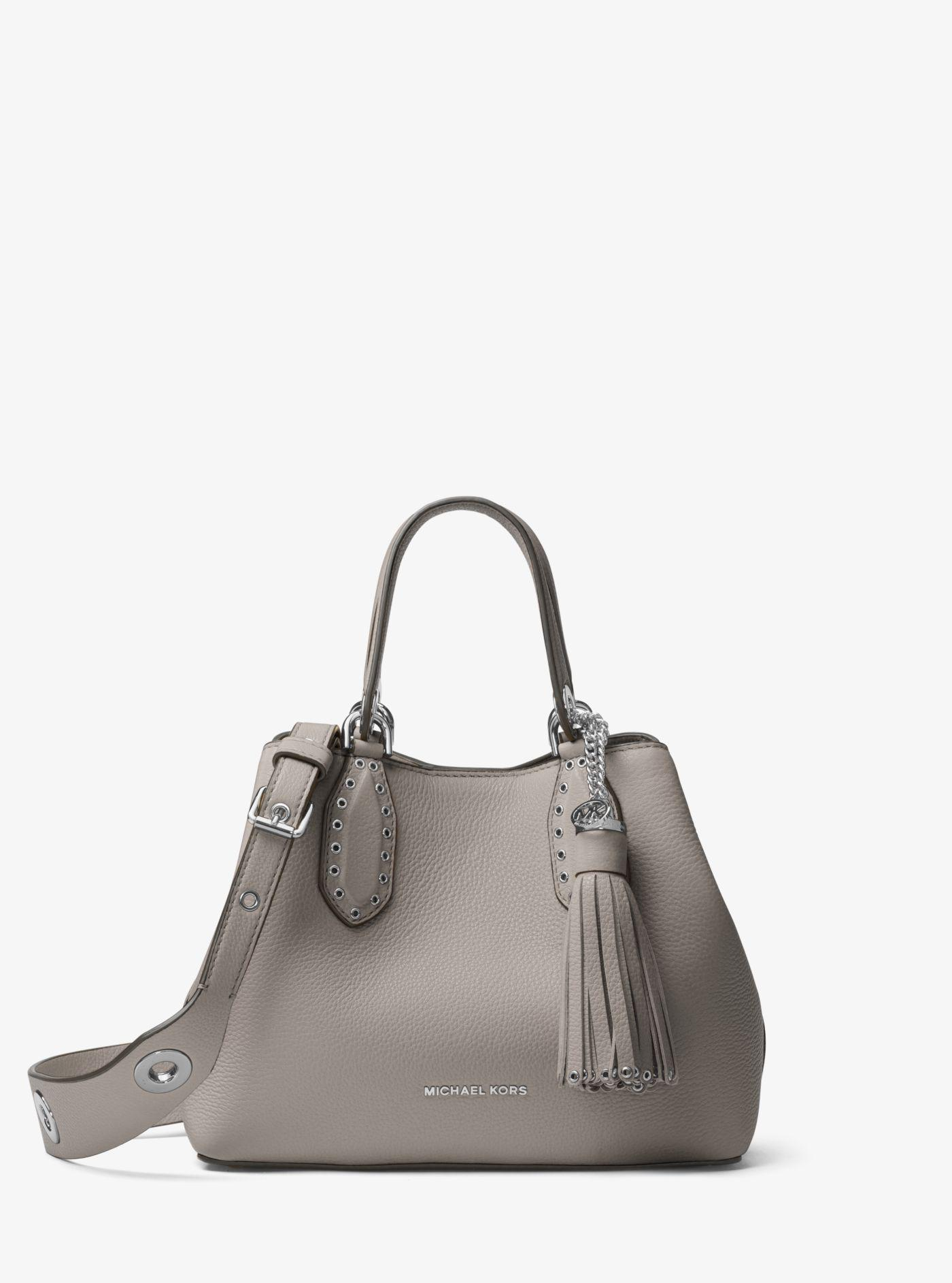 4ae6594dc23c ... Michael Kors - Gray Brooklyn Small Leather Satchel - Lyst.