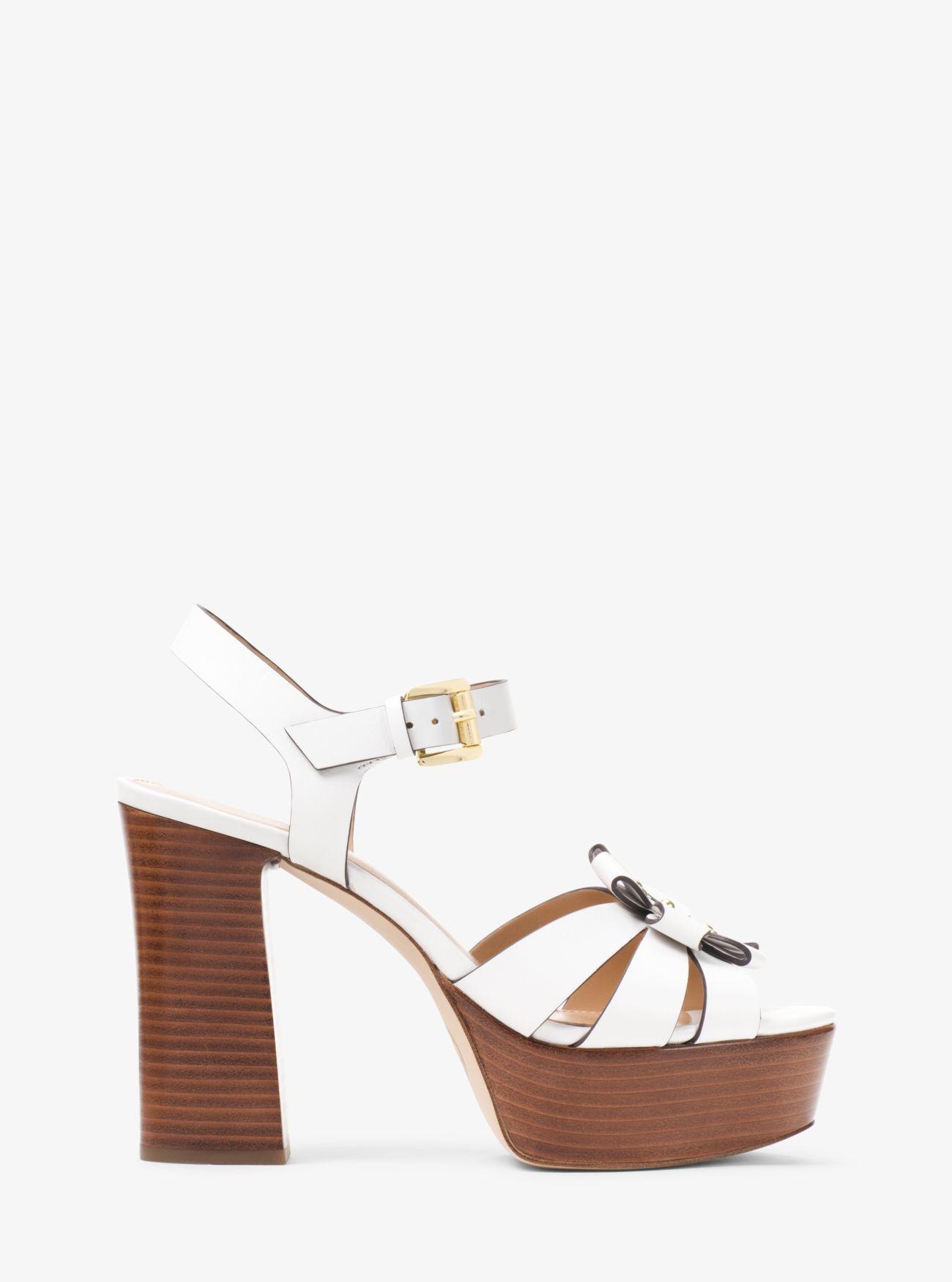177cf80acc4 MICHAEL Michael Kors - White Tara Floral Embellished Leather Platform Sandal  - Lyst. View fullscreen
