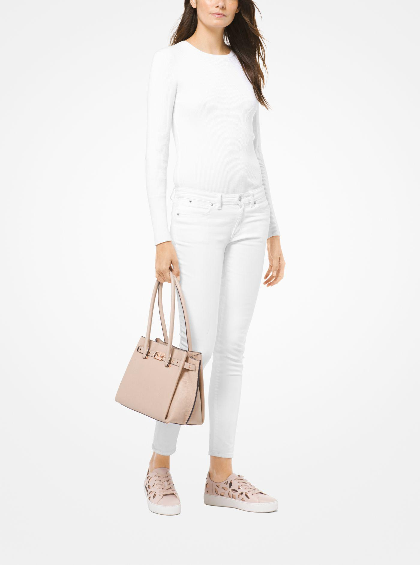 6e6648c74f2e Lyst - Michael Kors Addison Medium Pebbled Leather Tote in Pink