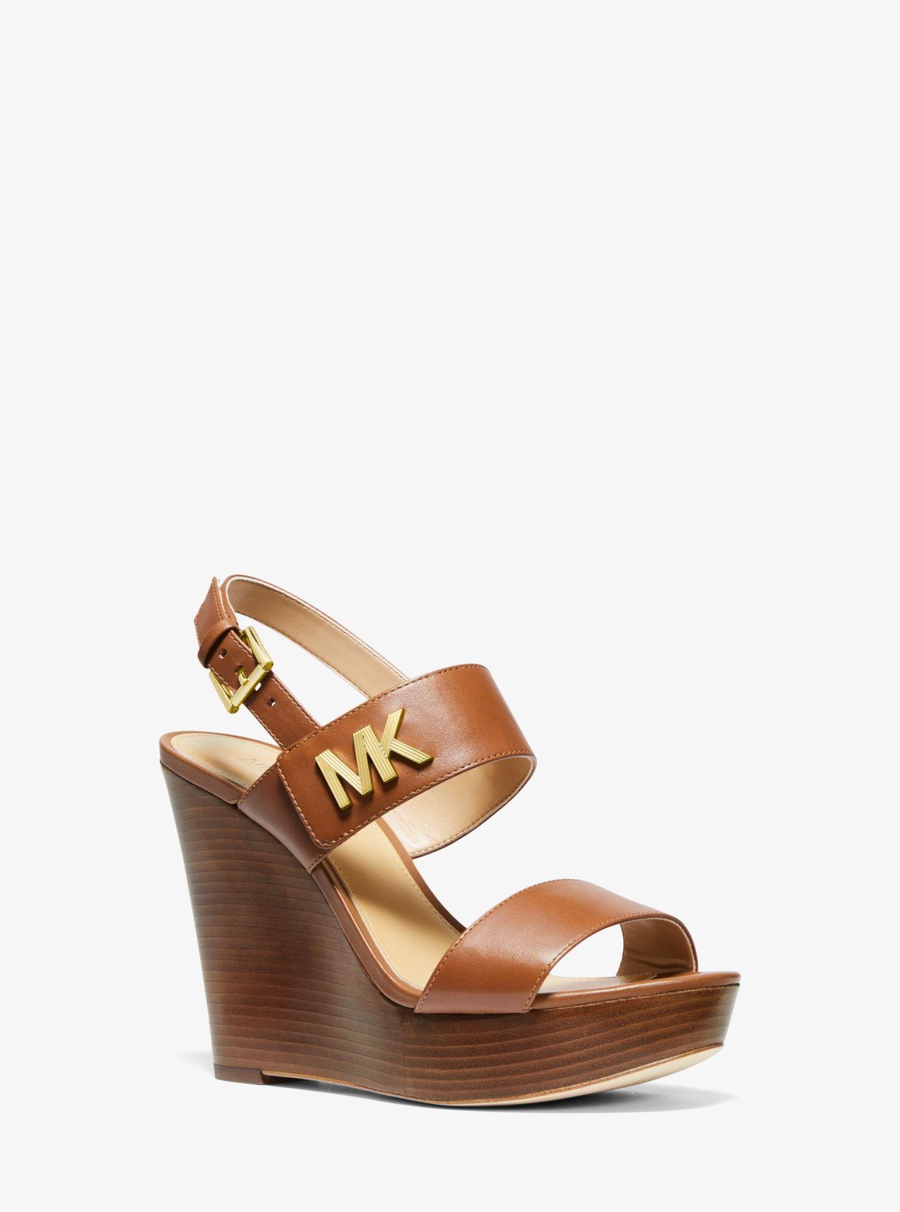 6841c36090 MICHAEL Michael Kors Deanna Leather Wedge in Brown - Lyst