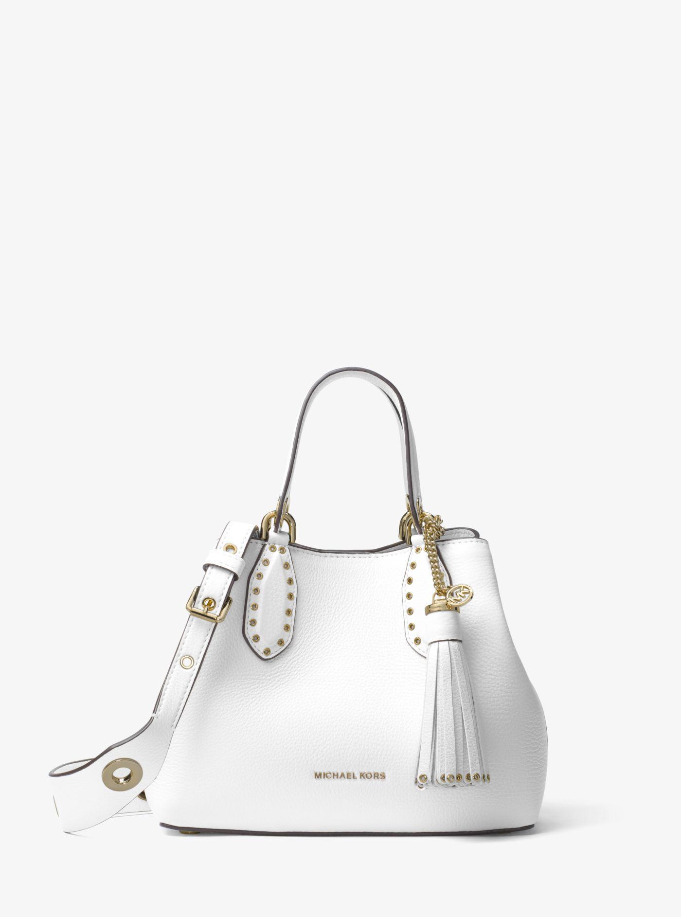 1986c200198c Michael Kors - White Brooklyn Small Leather Satchel - Lyst. View fullscreen