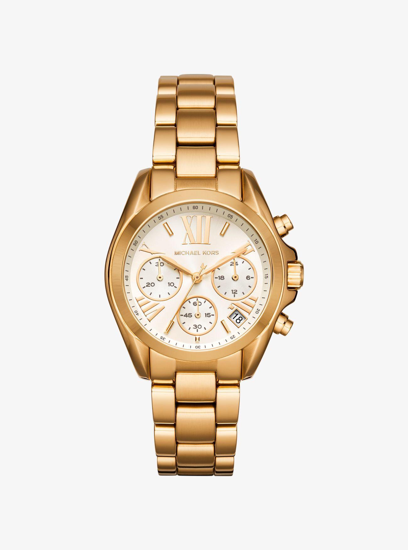 3cbe04f08def Michael Kors - Metallic Mini Bradshaw Gold-tone Watch - Lyst. View  fullscreen