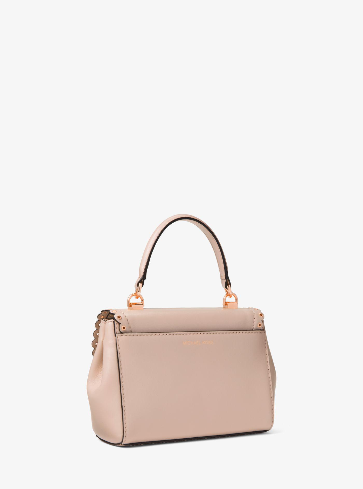 b2bdd35ebac7 Lyst - Michael Kors Ava Extra-small Scalloped Leather Crossbody in Pink