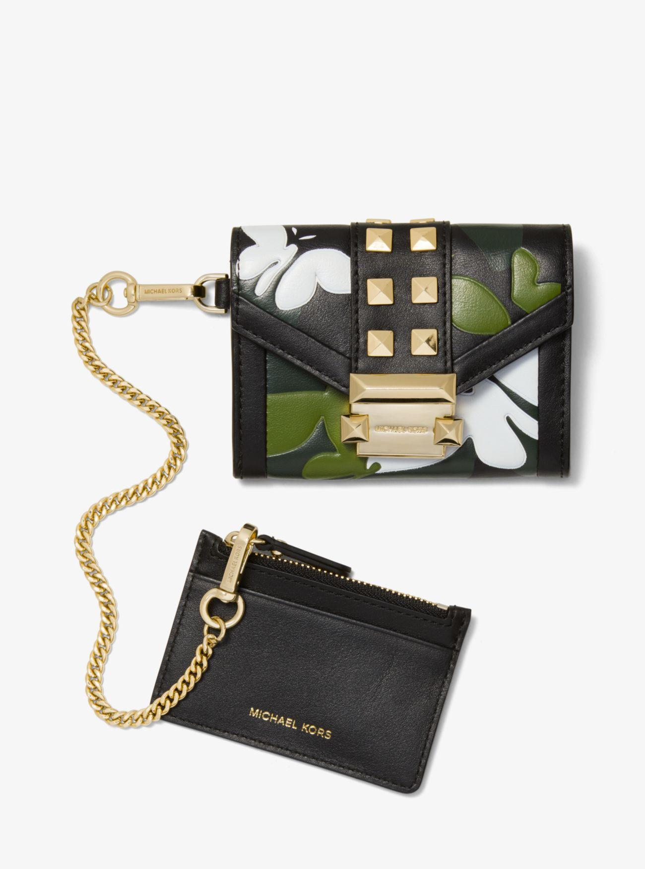 f2a7d8569847 Michael Kors - Black Whitney Small Butterfly Camo Leather Chain Wallet -  Lyst. View fullscreen