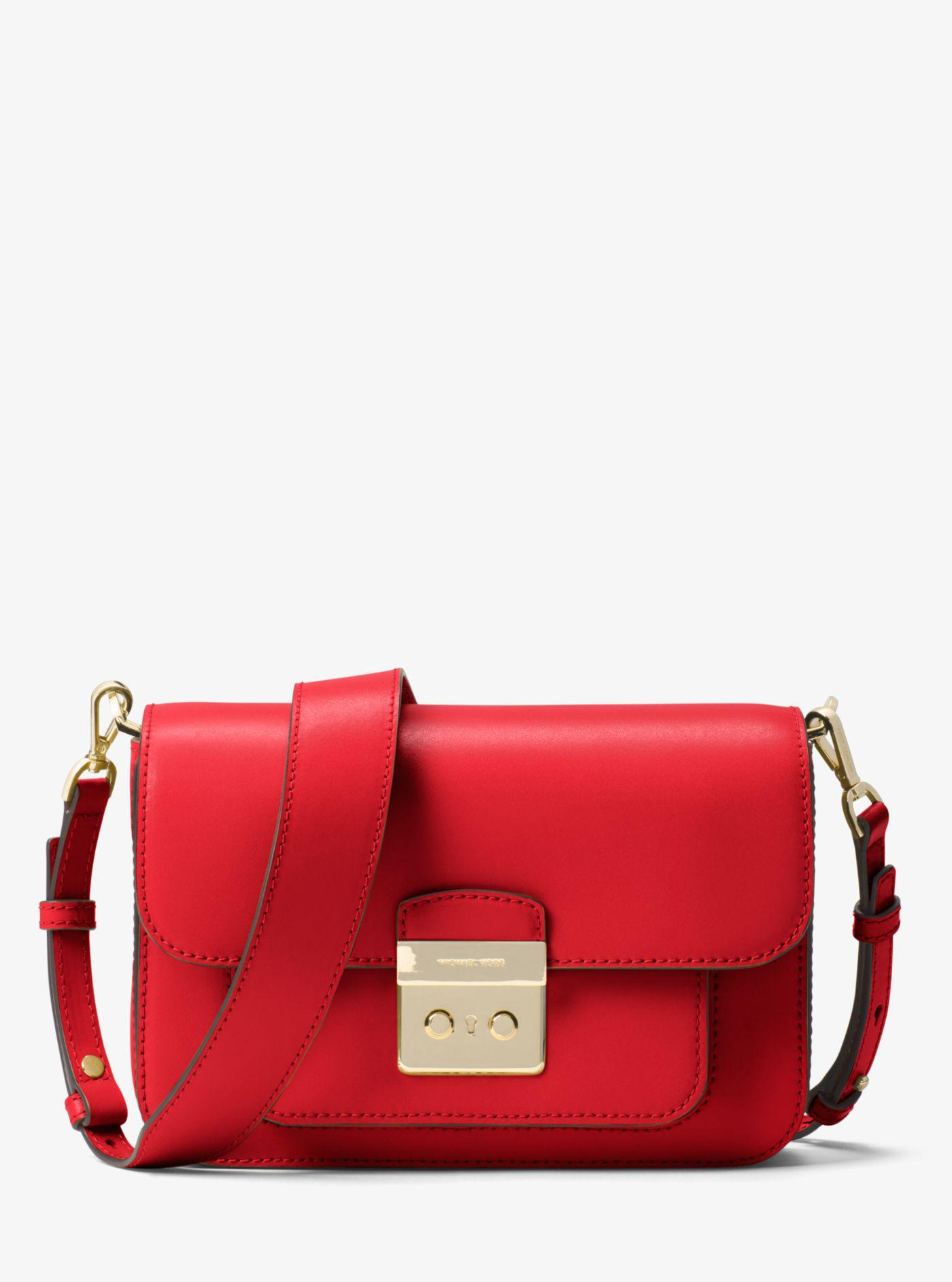 769c46ad30be6 Lyst - Michael Kors Michael Sloan Editor Leather Shoulder Bag in Red
