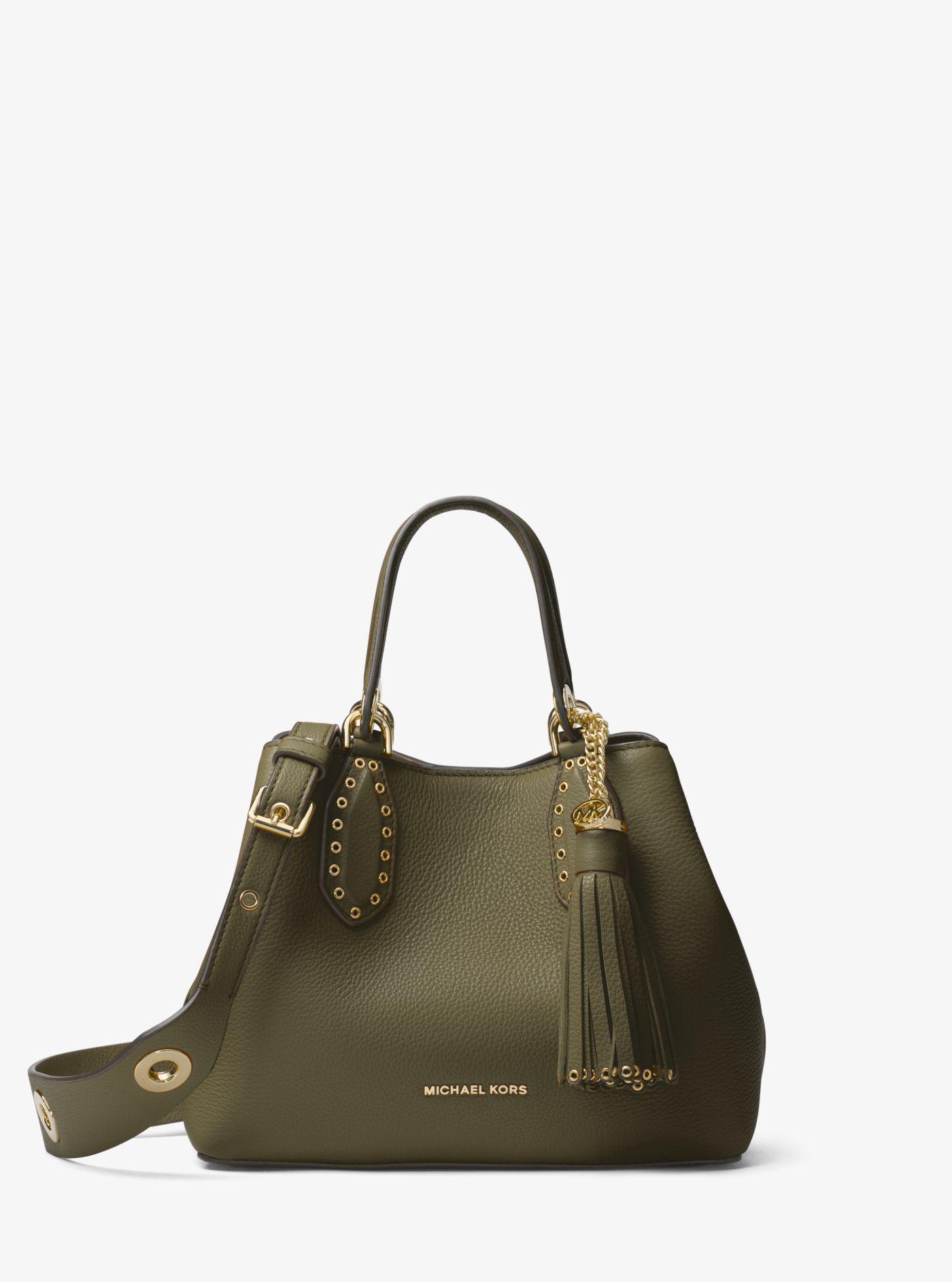 3e45e7049cf42 Michael Kors - Green Brooklyn Small Leather Satchel - Lyst. View fullscreen
