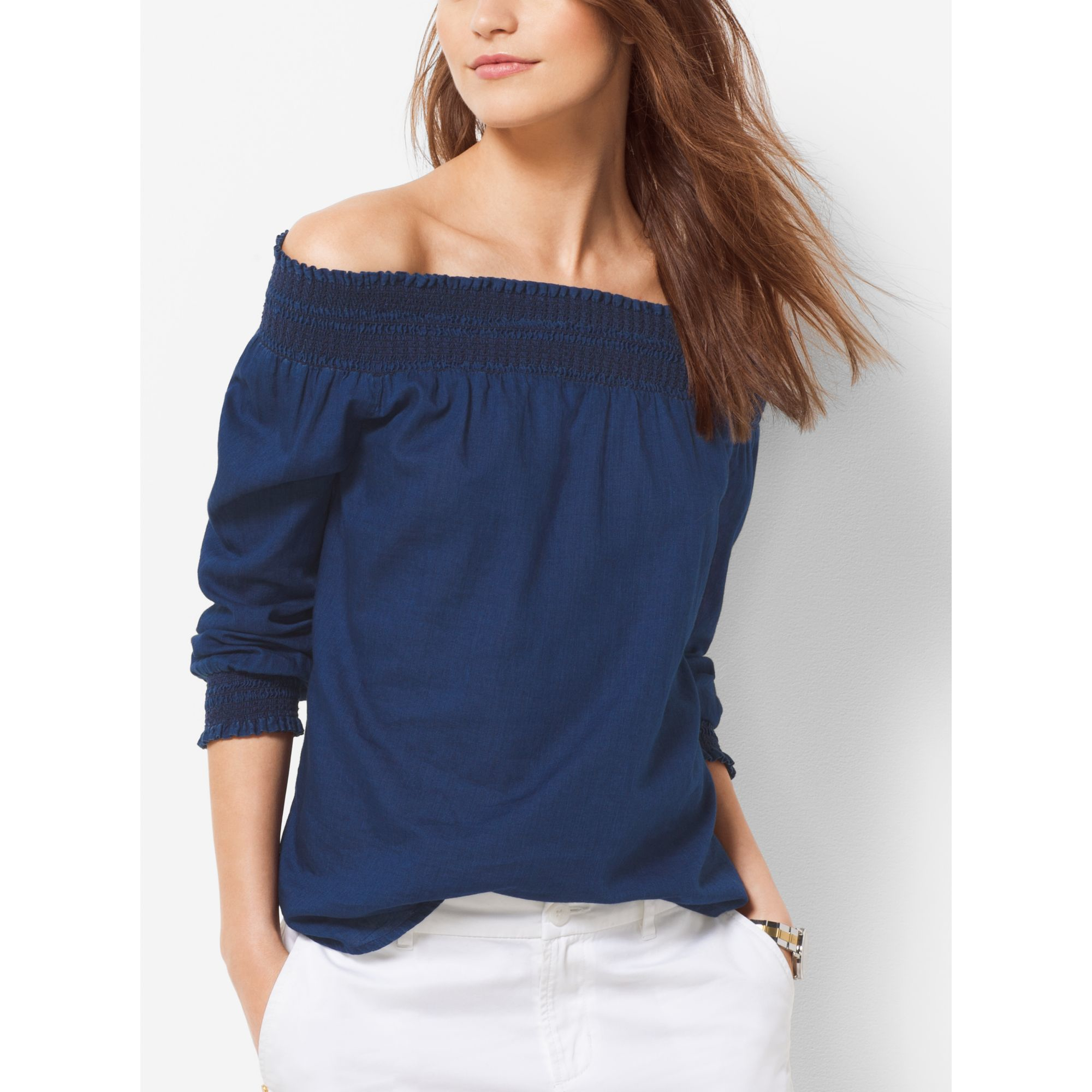 f05628d31f992 Lyst - Michael Kors Off-the-shoulder Blouse in Blue