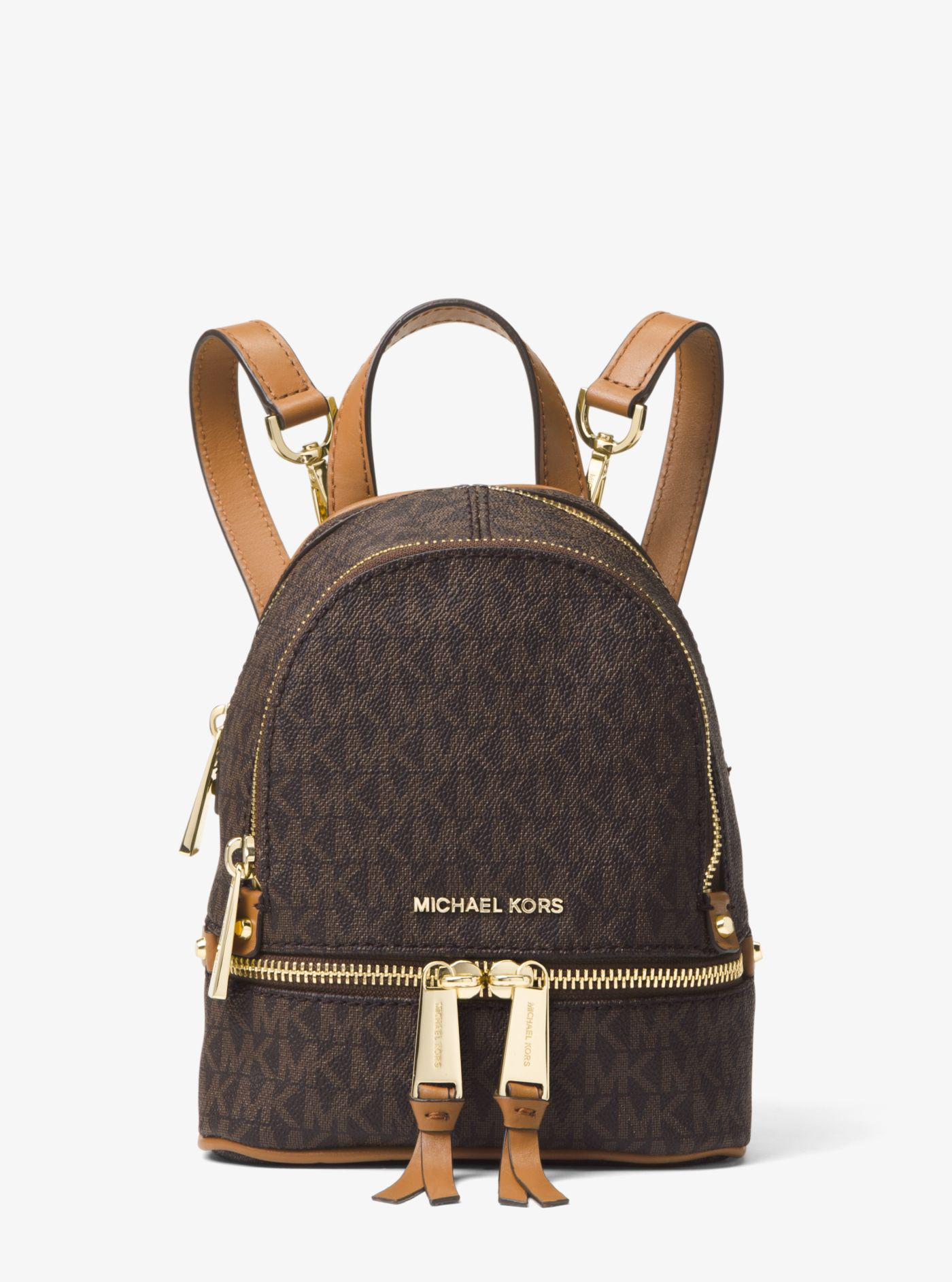 Michael Kors - Brown Rhea Mini Logo Backpack - Lyst. View fullscreen c3c9bf2c11