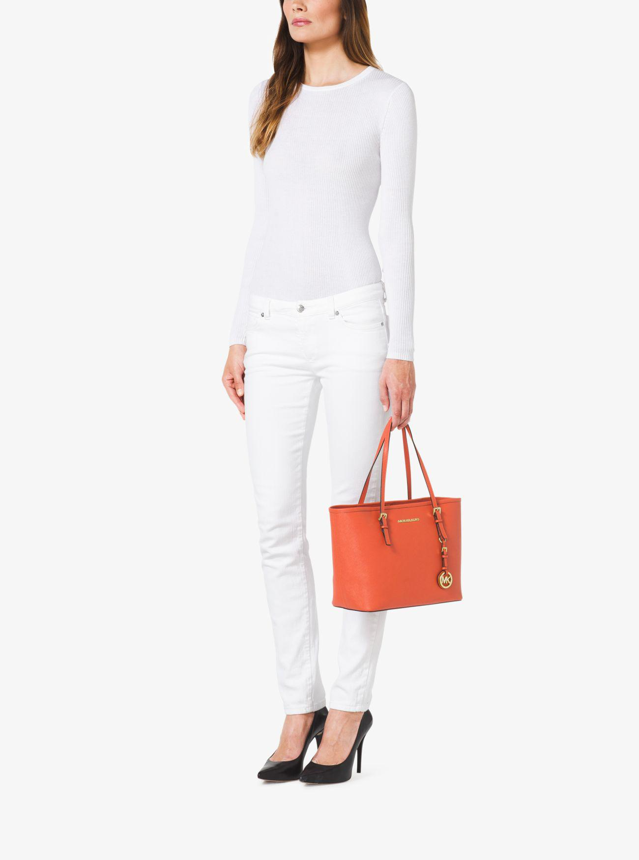 e40830485d62 Michael Kors Jet Set Saffiano Leather Small Tote Bag in Orange - Lyst