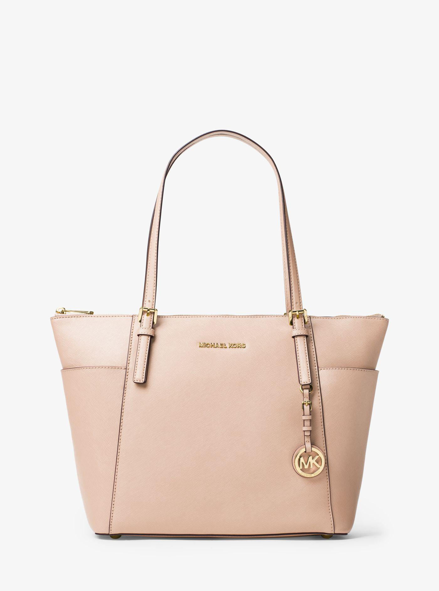 Michael Kors - Pink Jet Set Large Top-zip Saffiano Leather Tote - Lyst.  View fullscreen dfd9bb8f88434