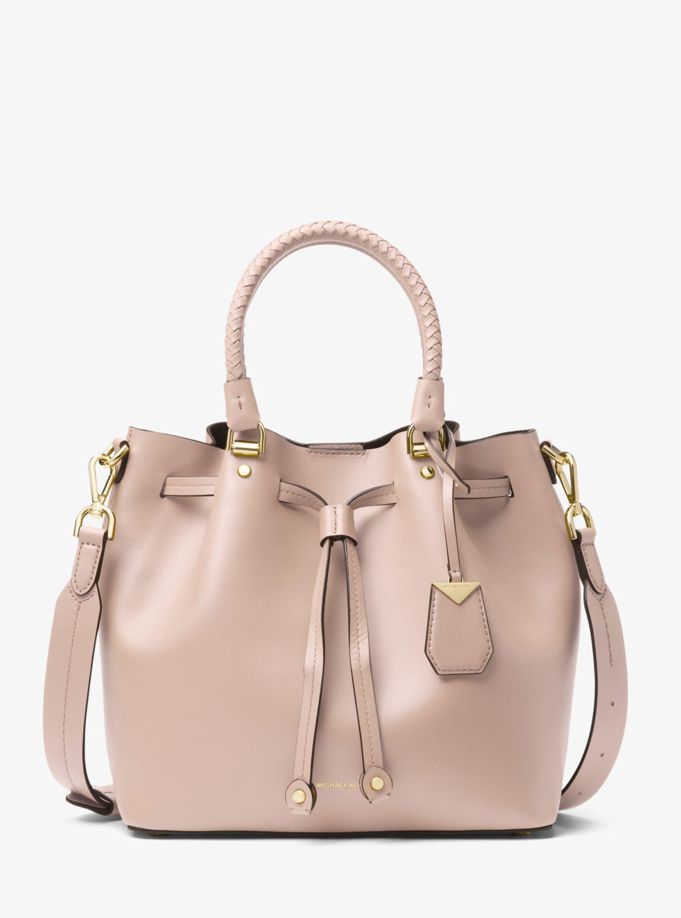 ... discount lyst michael kors blakely leather bucket bag in pink c9846  68e45 4f12dc075febf