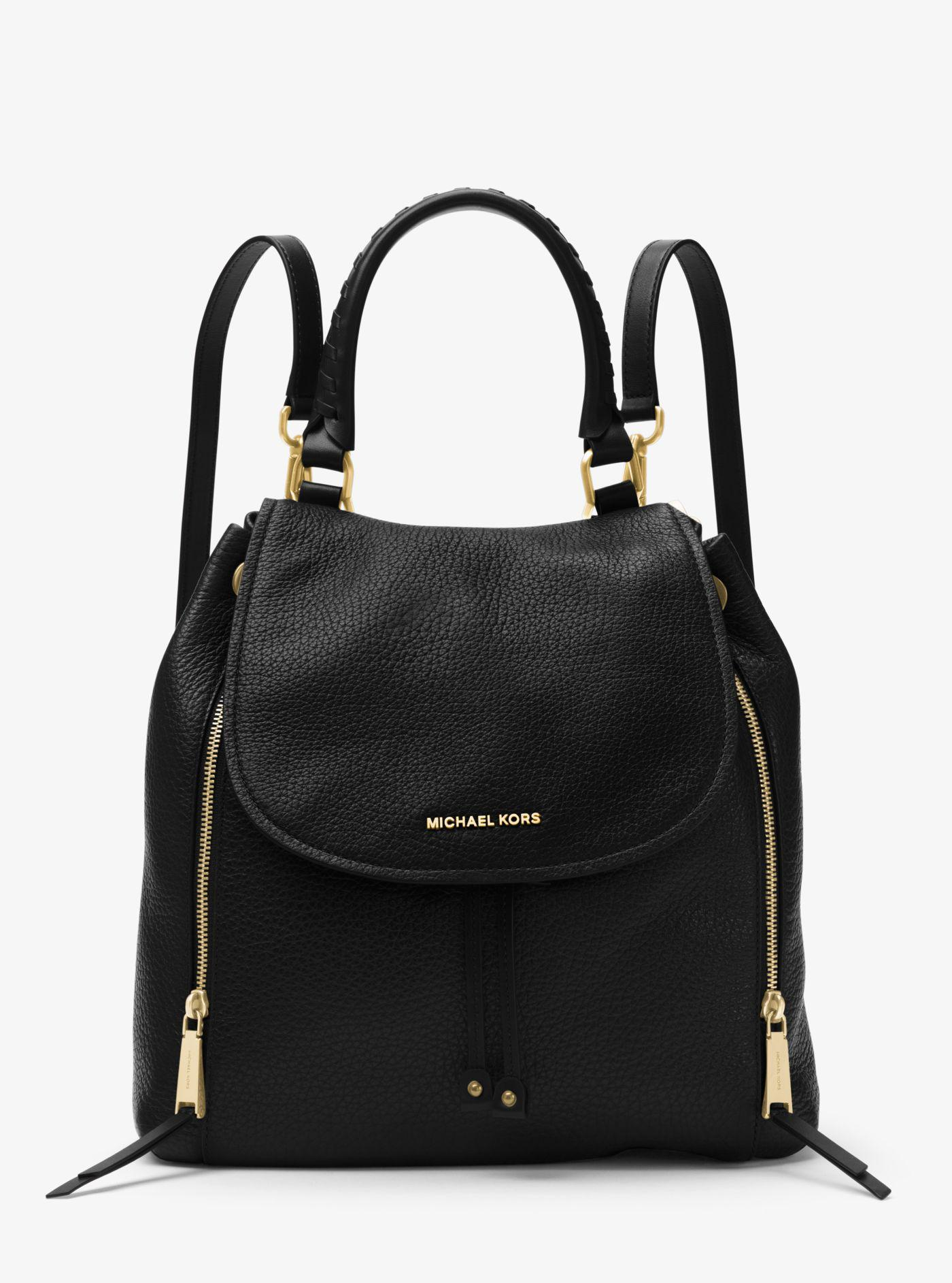 3b1761409c3ce5 ... discount michael kors black viv large leather backpack lyst. view  fullscreen e33ff 8ee6b