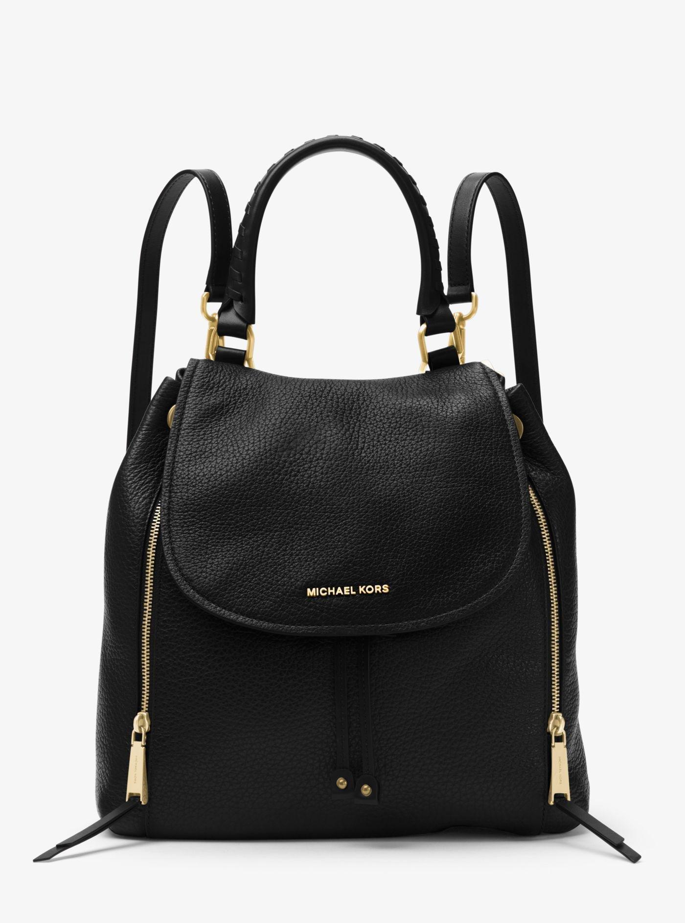 4557ba269206f ... discount michael kors black viv large leather backpack lyst. view  fullscreen e33ff 8ee6b