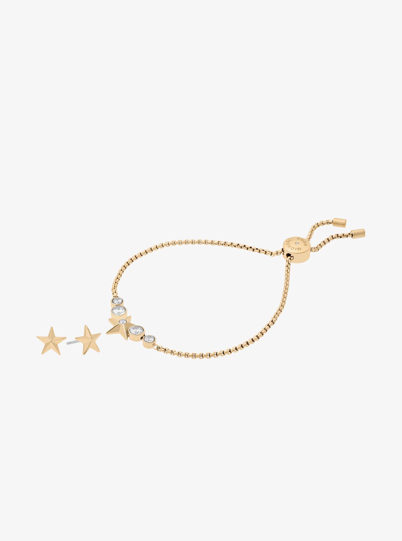 b2a8ff65781f Michael Kors Gold-tone Star Slider Bracelet And Earrings Set in ...