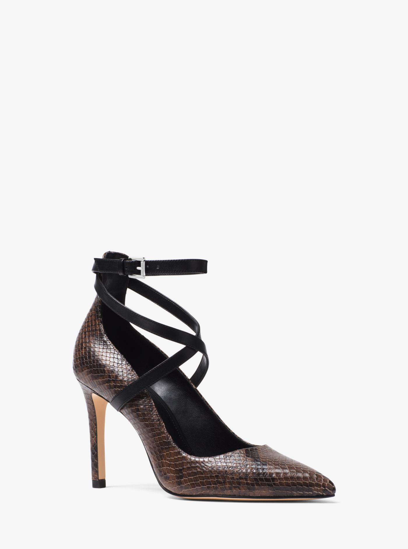 e57c339215a9 Lyst - Michael Kors Jeannie Snake-embossed Leather Pump in Black